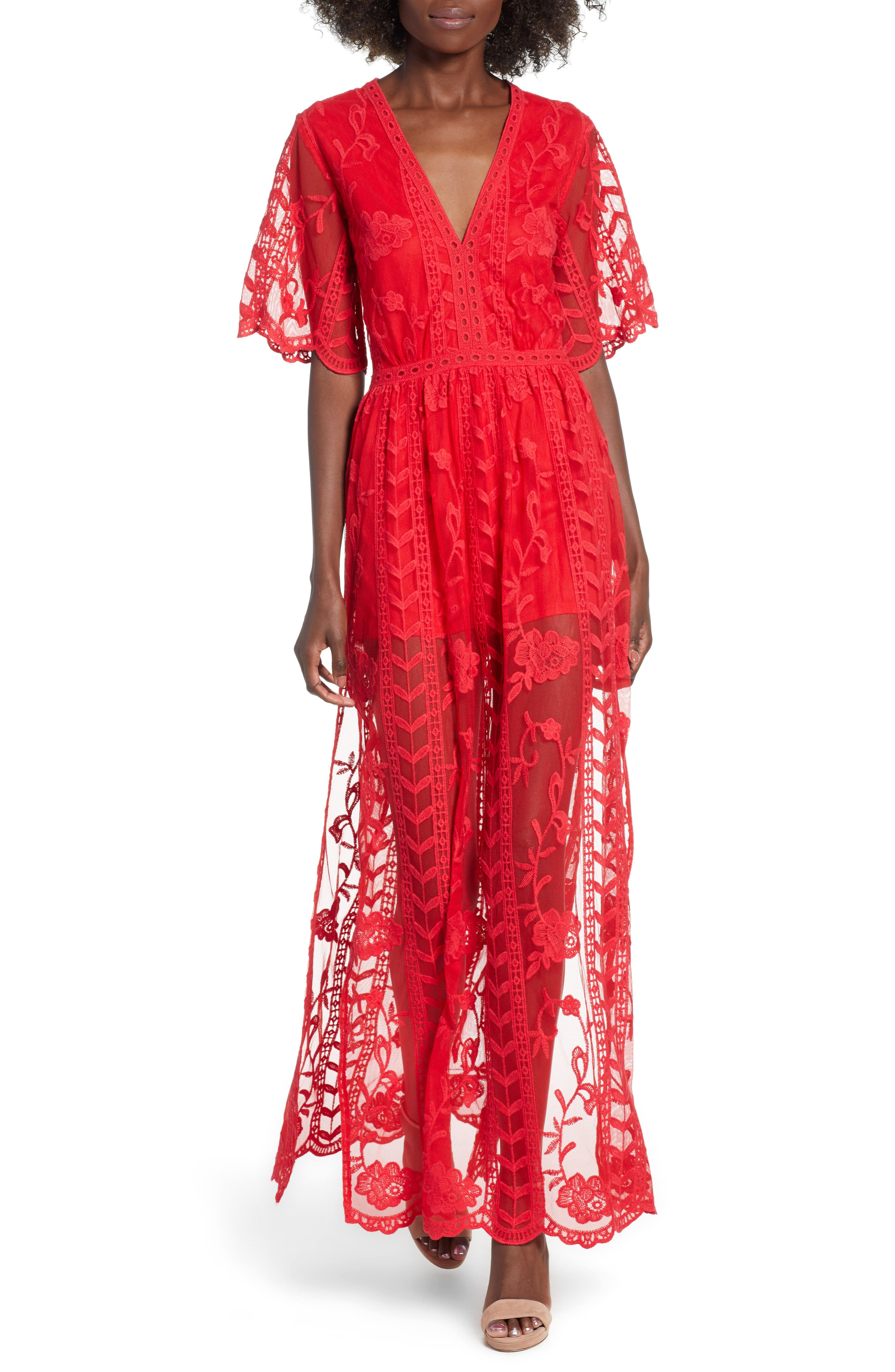 SOCIALITE, Lace Overlay Romper, Main thumbnail 1, color, RED LIPSTICK