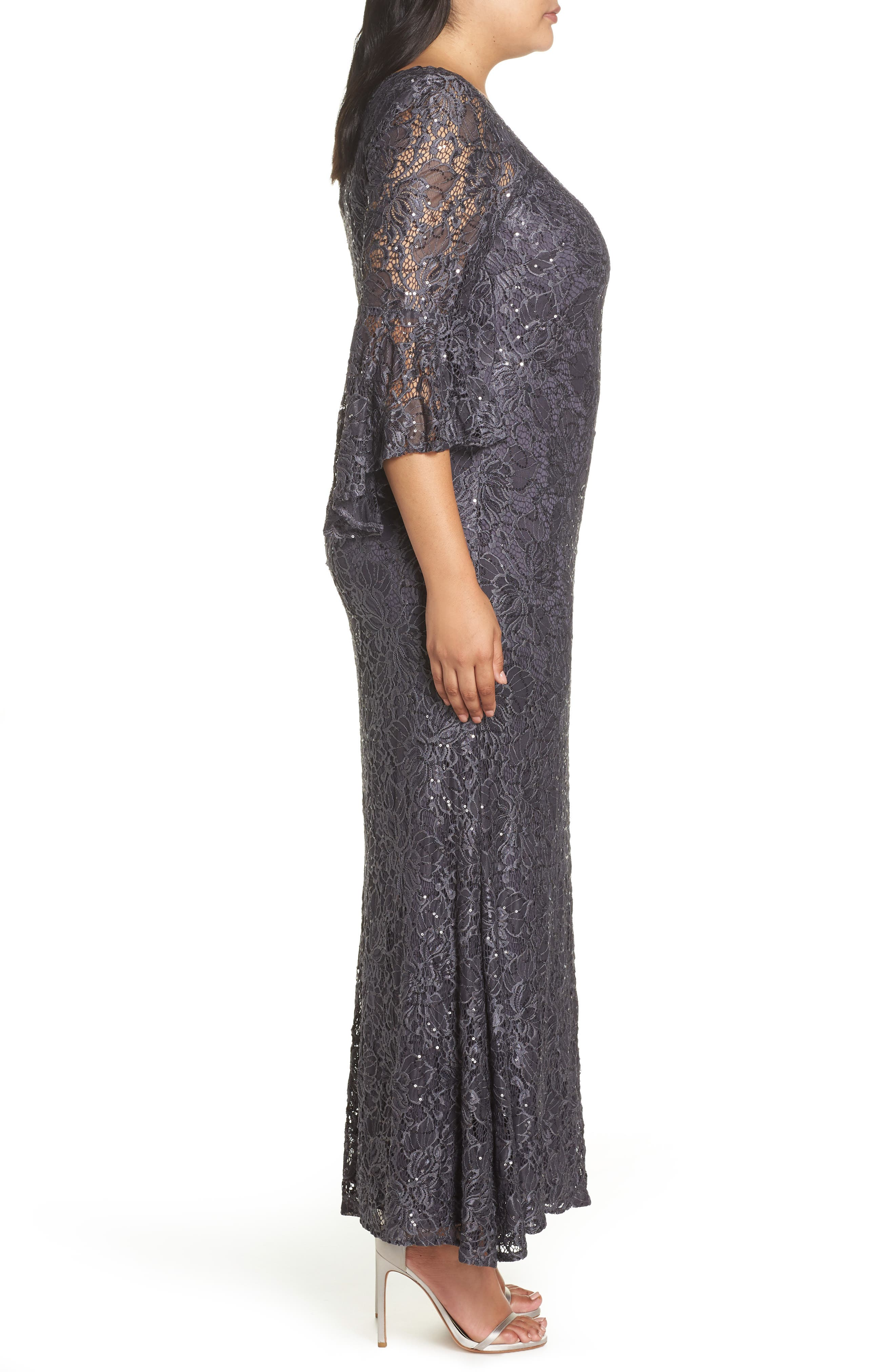 MORGAN & CO., Lace Bell Sleeve Gown, Alternate thumbnail 4, color, CHARCOAL