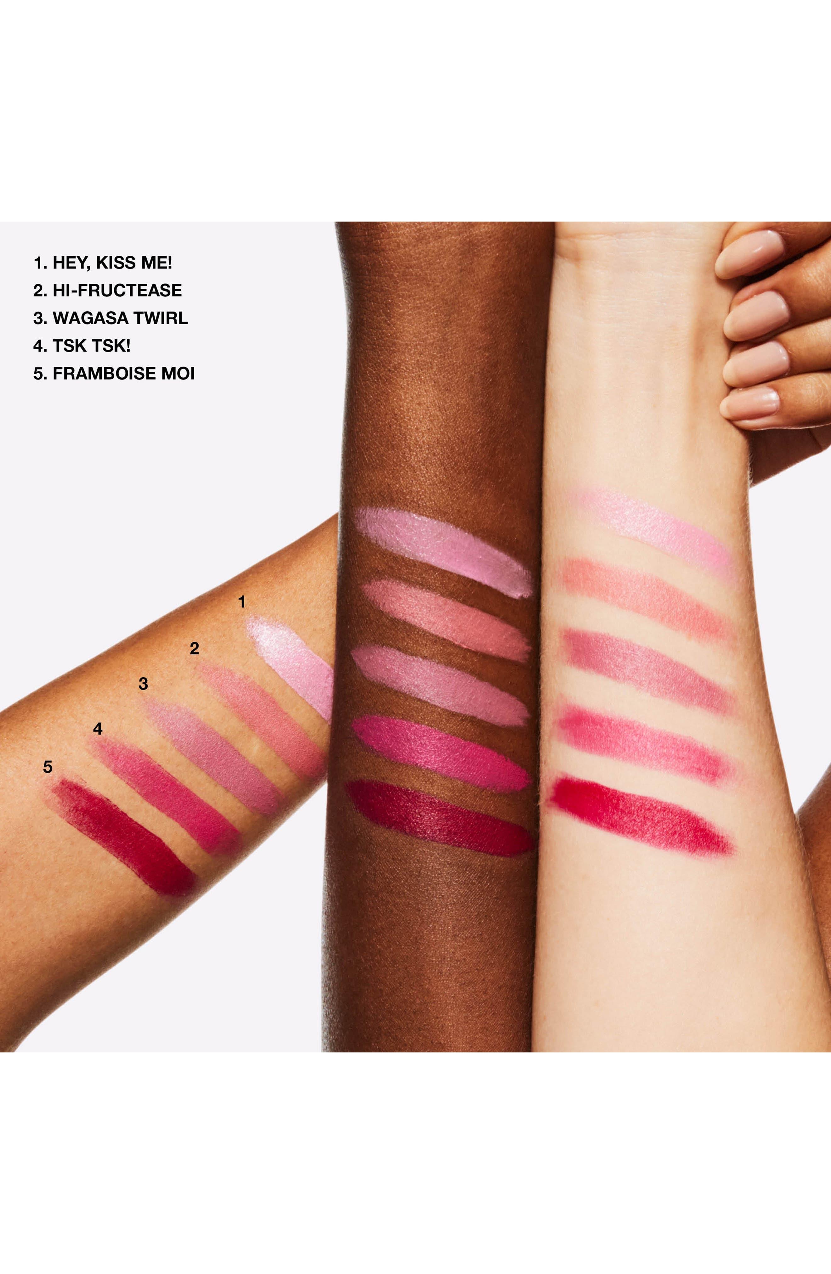MAC COSMETICS, MAC Boom, Boom, Bloom Lipstick, Alternate thumbnail 3, color, HI-FRUCTEASE (M)