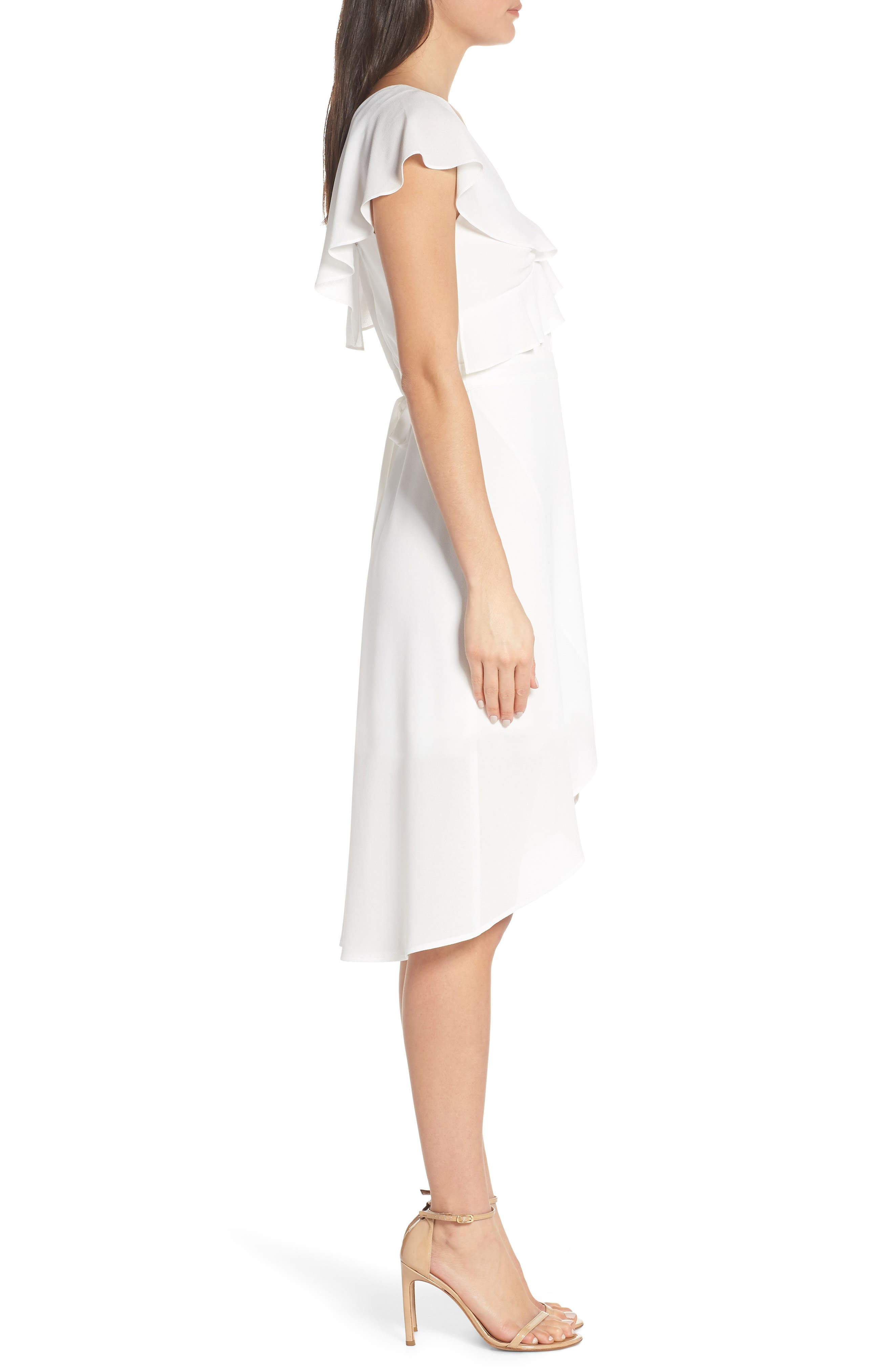 ALI & JAY, Day at the Races Chiffon Dress, Alternate thumbnail 4, color, WHITE