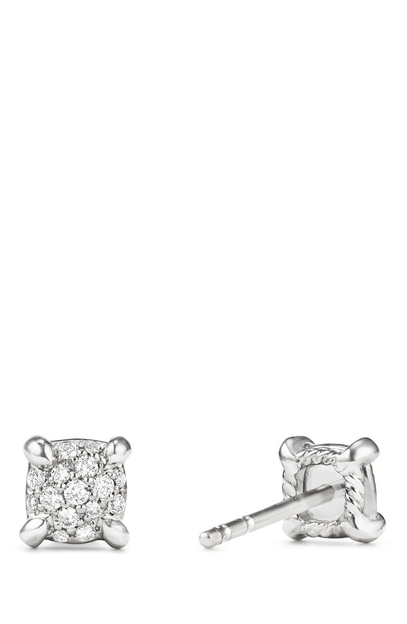 DAVID YURMAN, Châtelaine Stud Earrings with Diamonds, Alternate thumbnail 2, color, WHITE GOLD/ DIAMOND