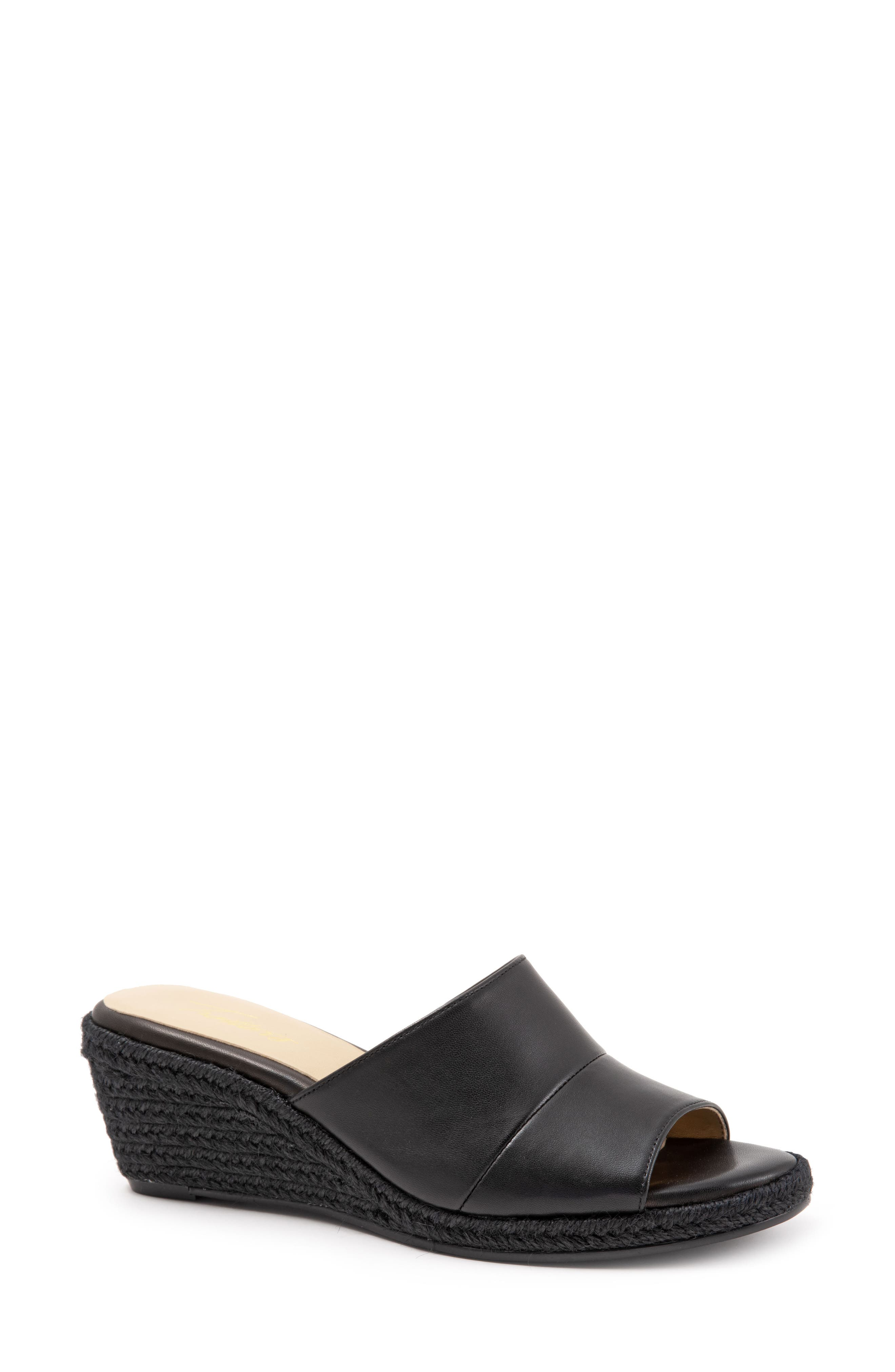 TROTTERS Colony Wedge Slide Sandal, Main, color, BLACK LEATHER