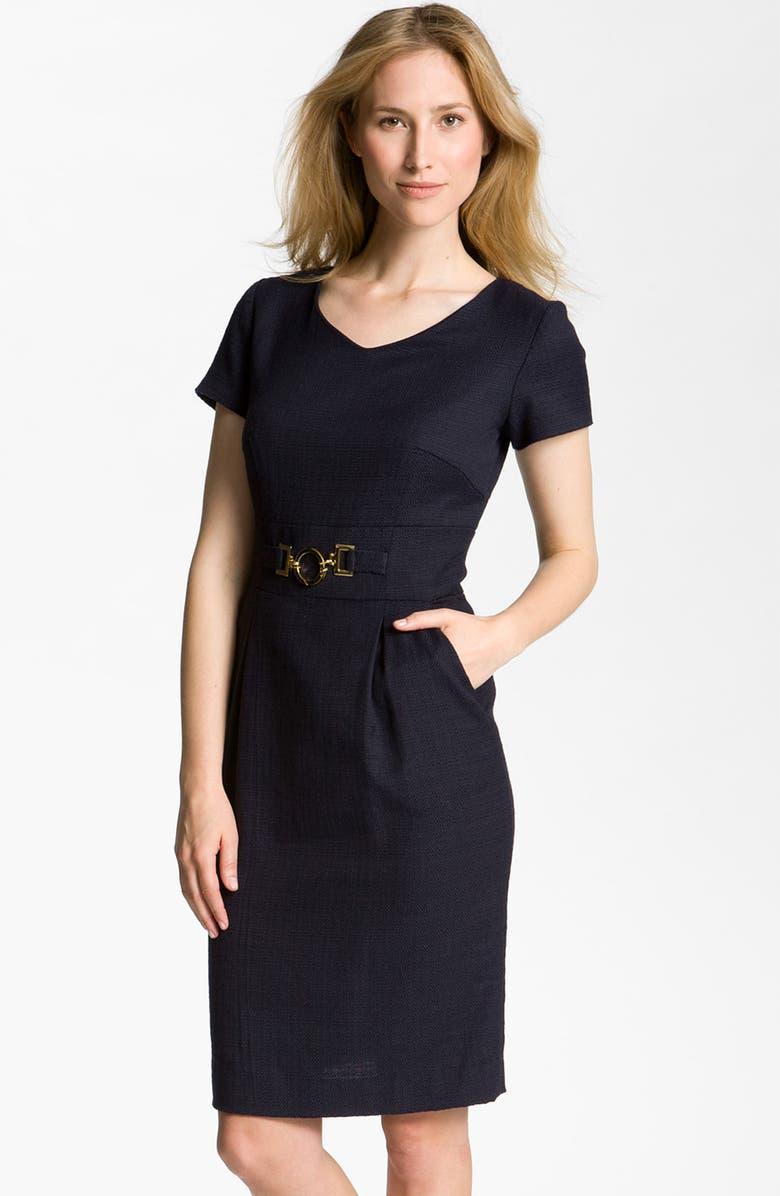 04f21a4d TAHARI by Arthur S. Levine Gold Buckle Tweed Sheath Dress, Main, color,