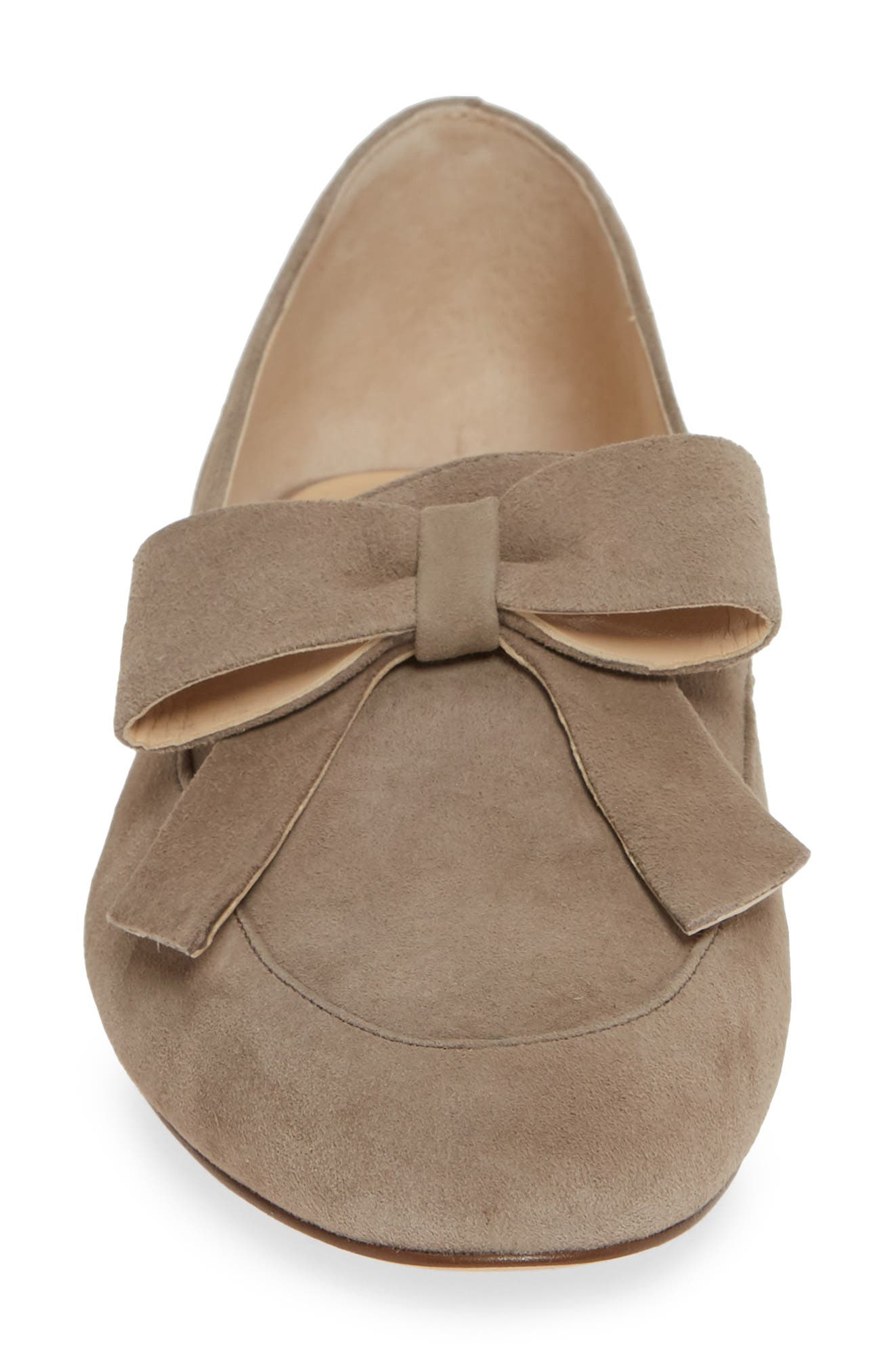 SOLE SOCIETY, Tannse Bow Loafer, Alternate thumbnail 4, color, MUSHROOM SUEDE