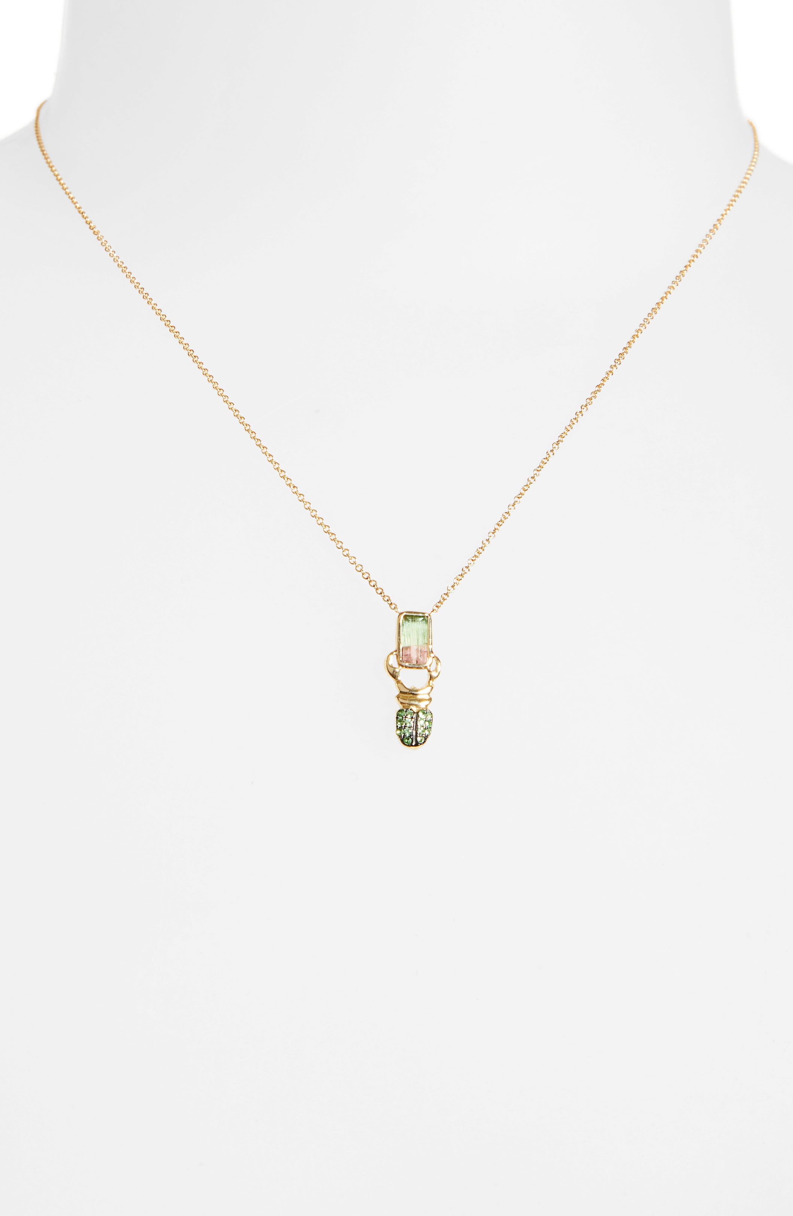DANIELA VILLEGAS, Khepri Watermelon Tourmaline & Tsavorite Pendant Necklace, Alternate thumbnail 2, color, GOLD