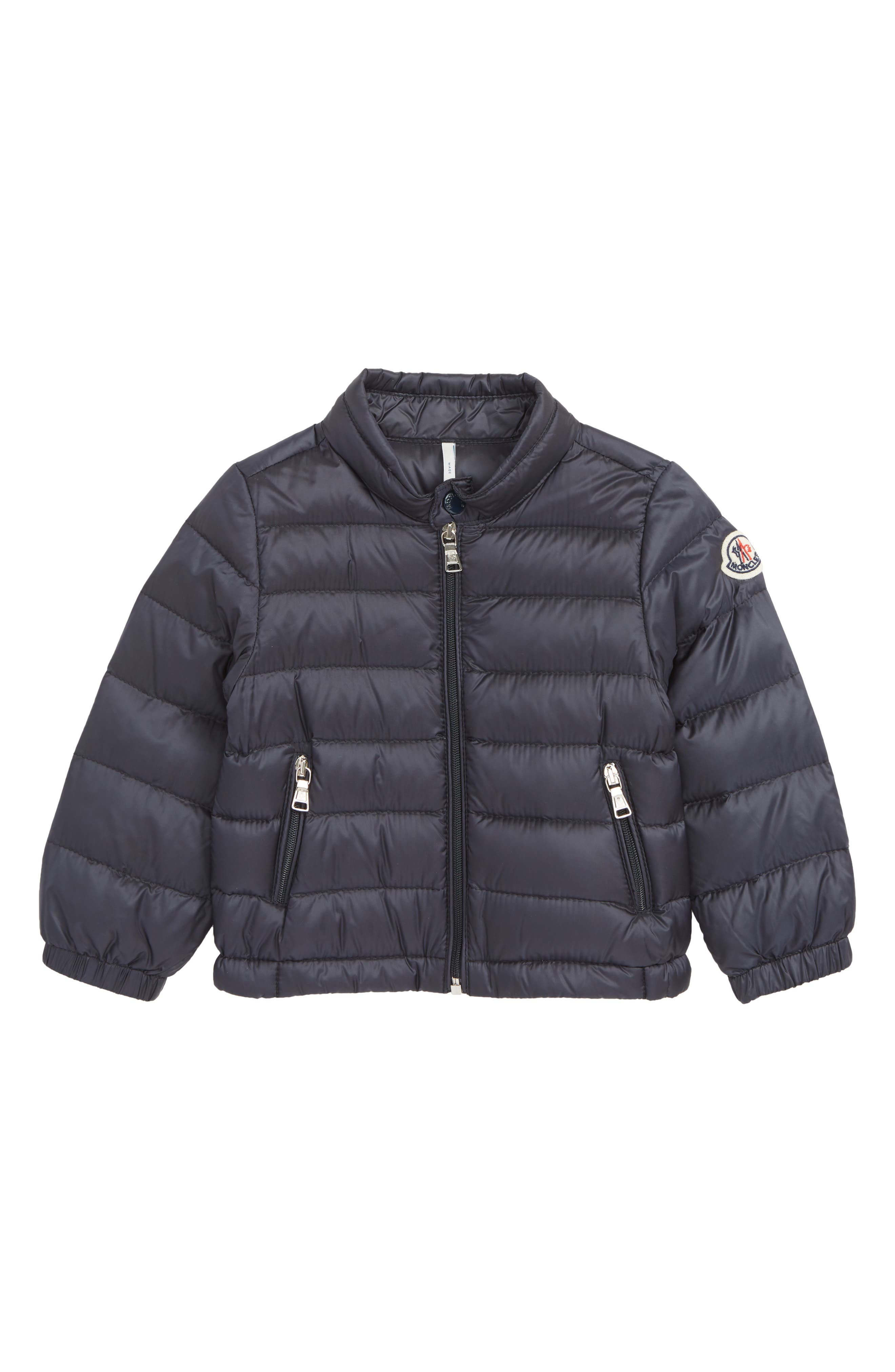 MONCLER, Acorus Channel Quilted Down Moto Jacket, Main thumbnail 1, color, NAVY