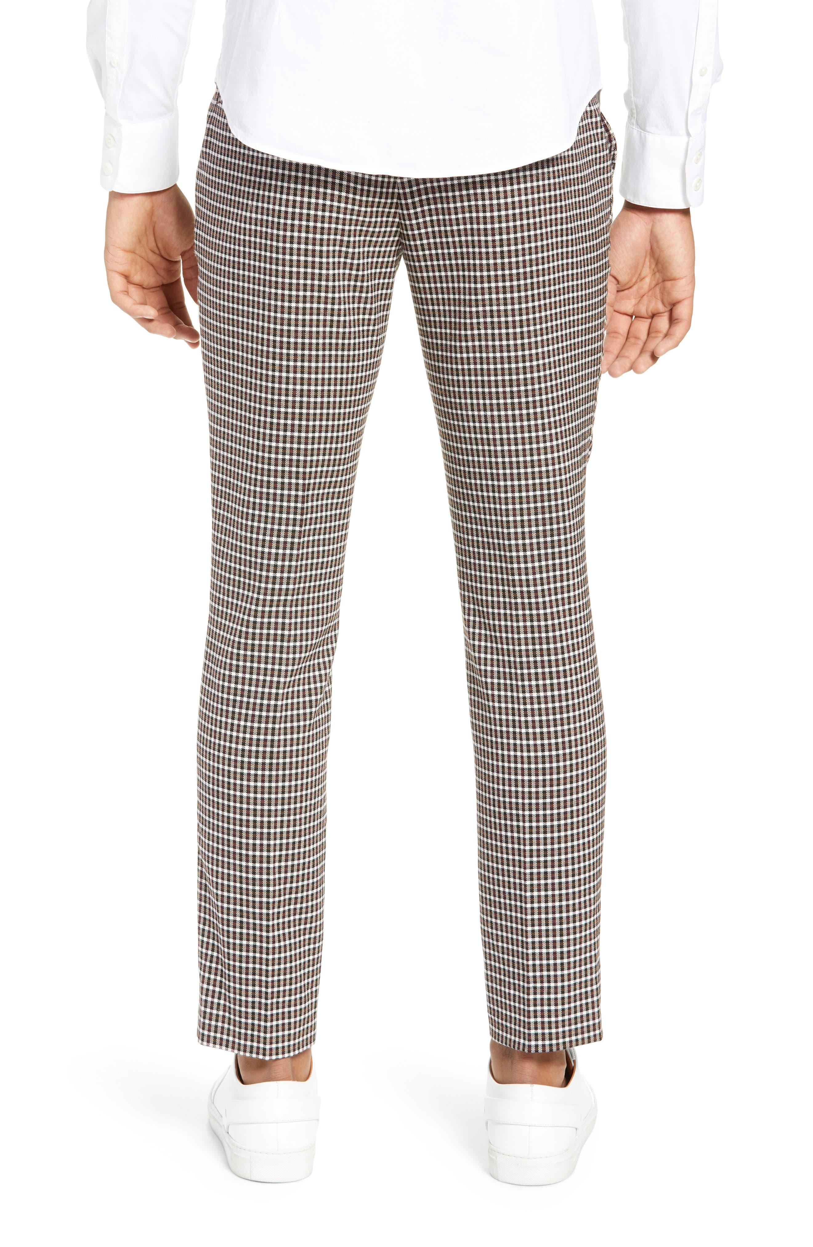 TOPMAN, Multicheck Skinny Fit Trousers, Alternate thumbnail 2, color, BLACK MULTI