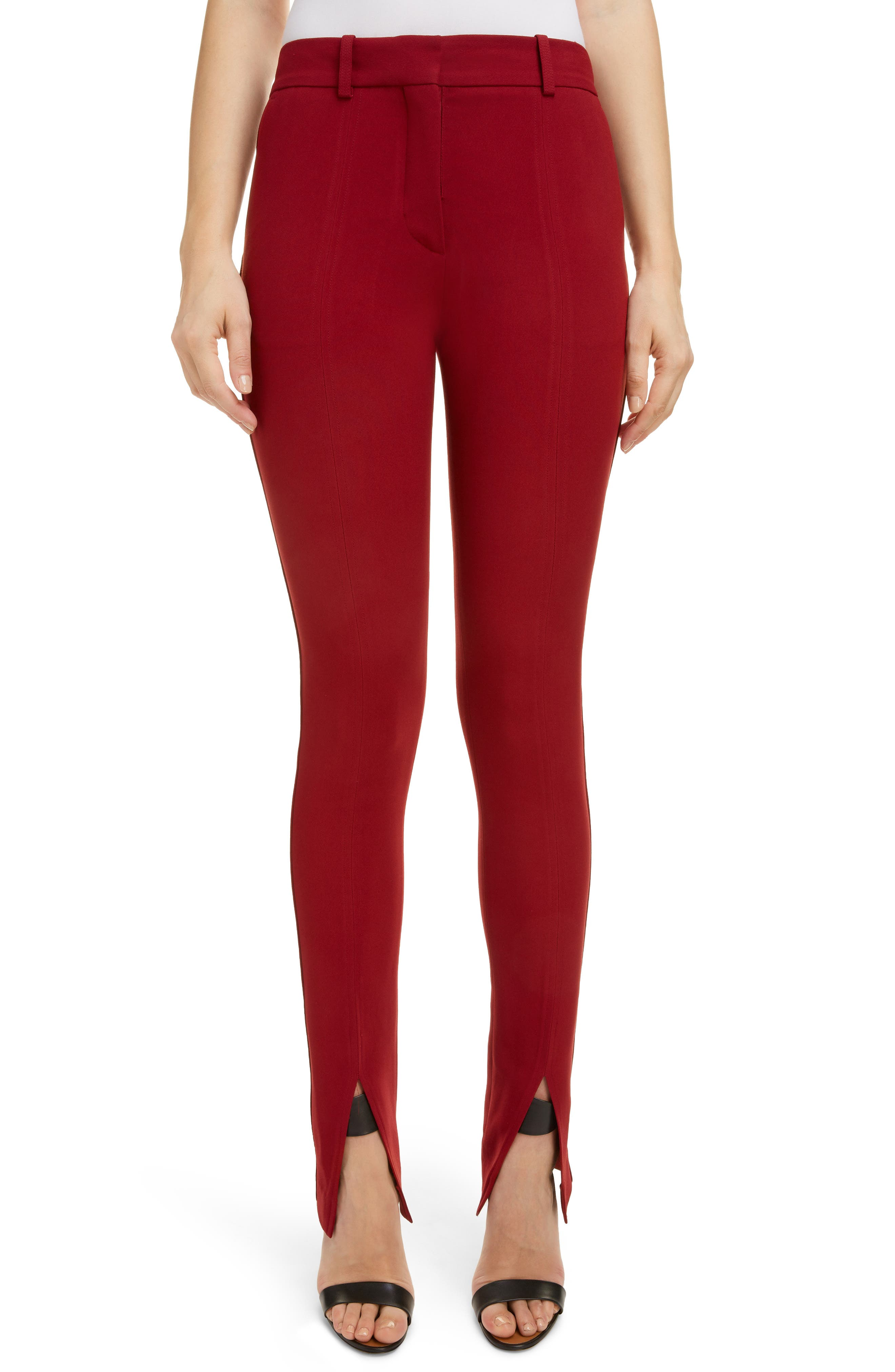 VICTORIA BECKHAM, Front Split Skinny Pants, Main thumbnail 1, color, BURGUNDY