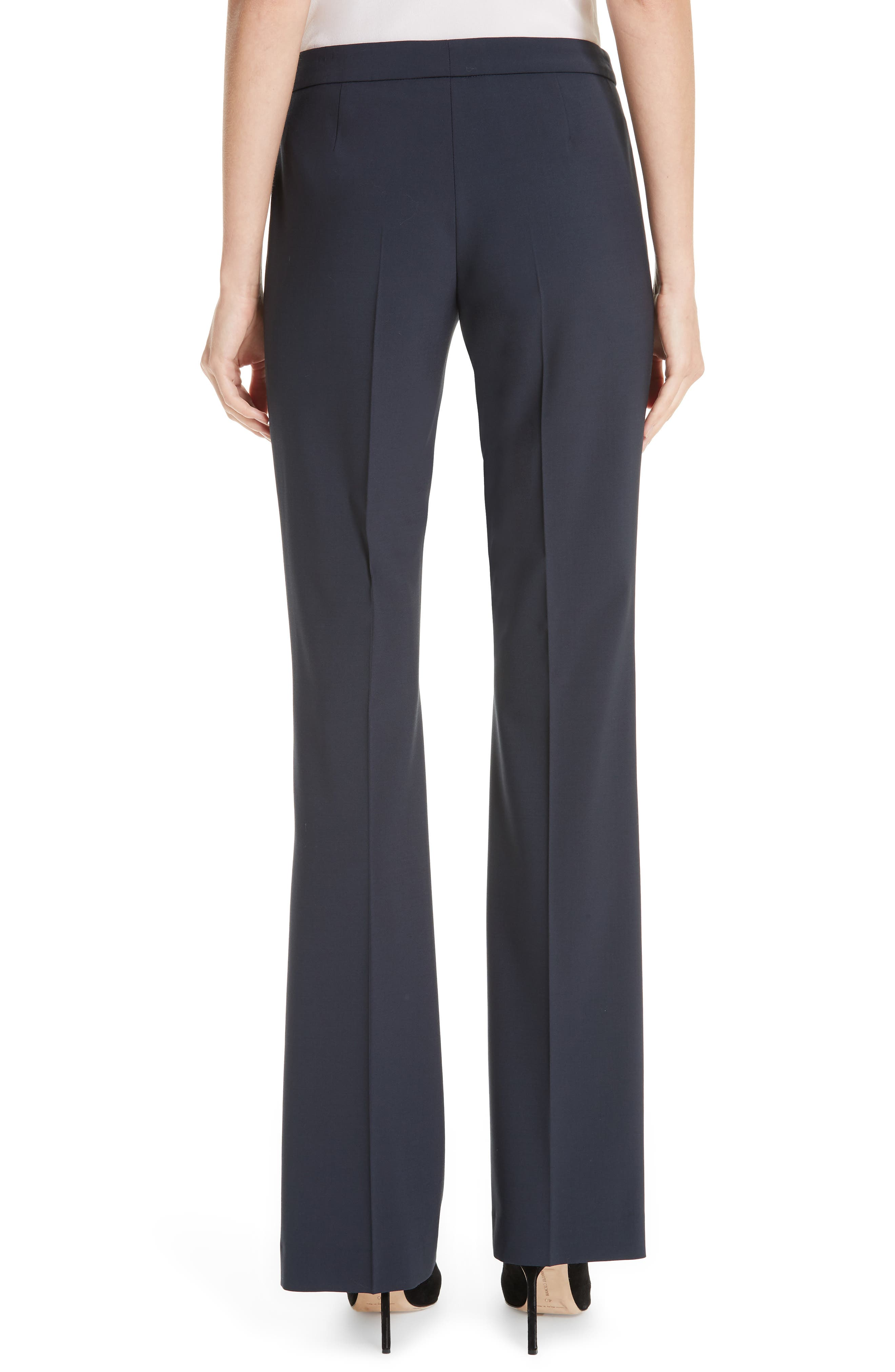 BOSS, Tulea Side Zip Tropical Stretch Wool Trousers, Alternate thumbnail 2, color, NAVY