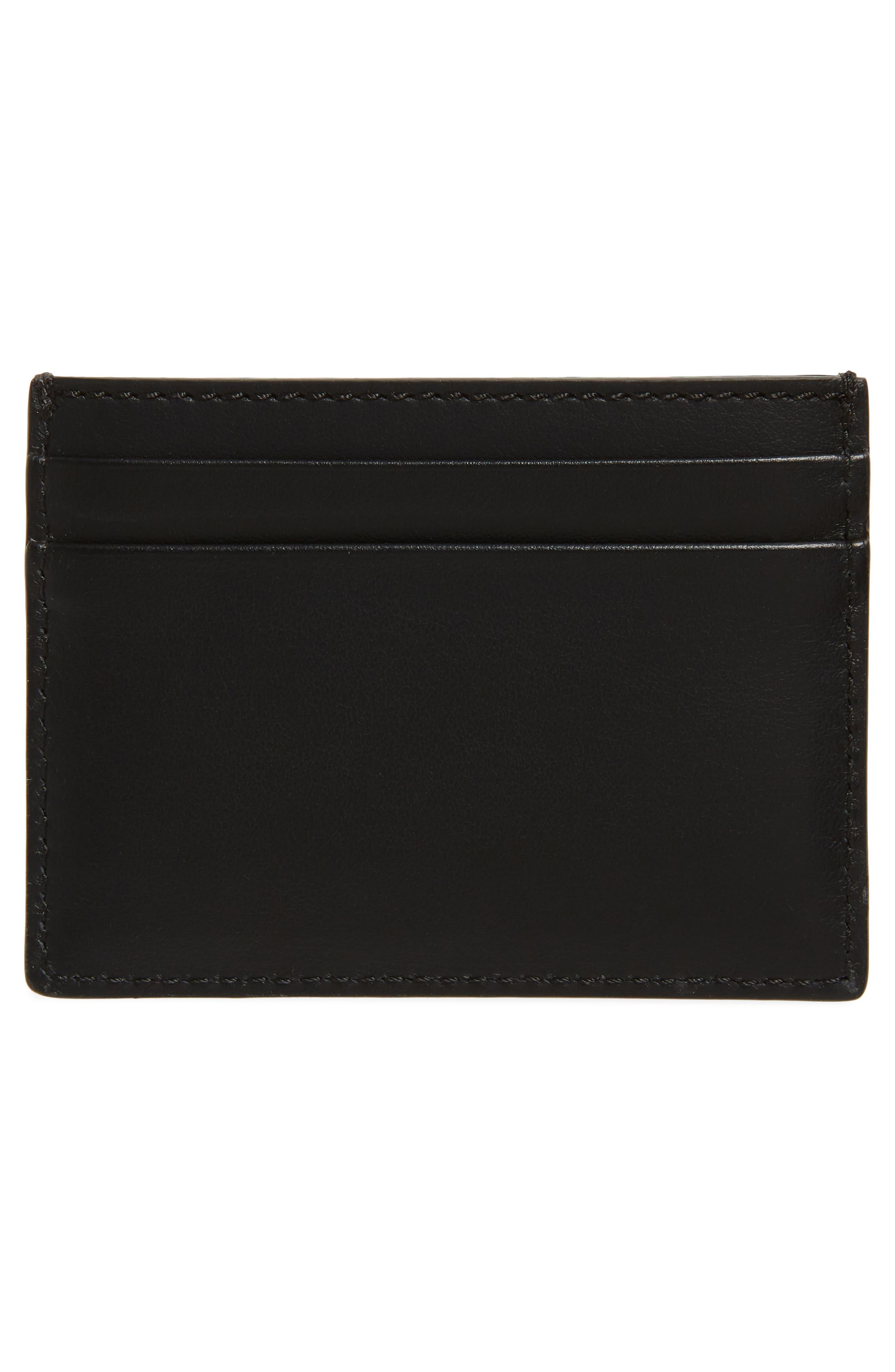 BURBERRY, Sandon Logo Leather Card Case, Alternate thumbnail 2, color, BLACK