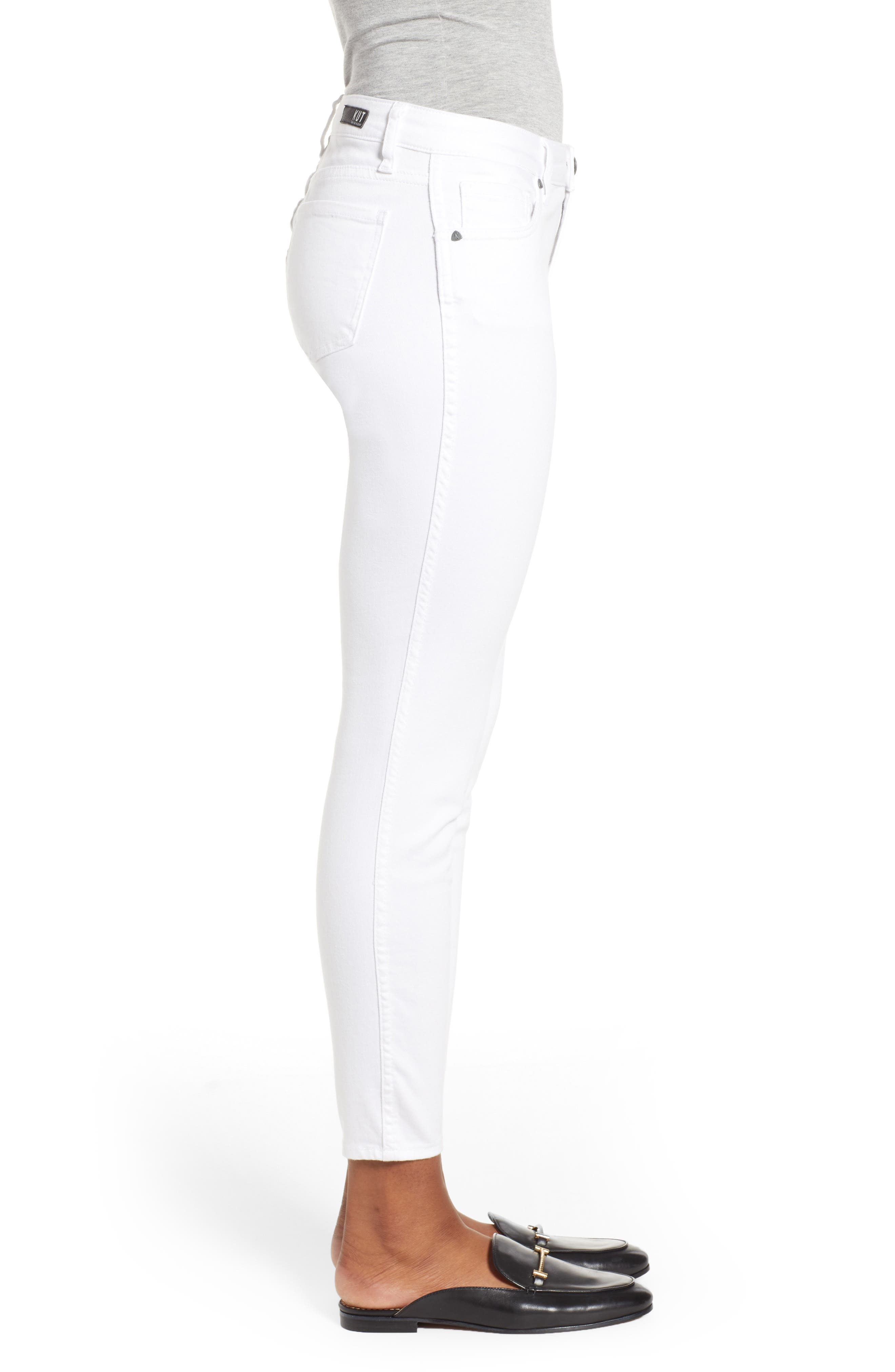 KUT FROM THE KLOTH, Donna Ankle Skinny Jeans, Alternate thumbnail 4, color, OPTIC WHITE
