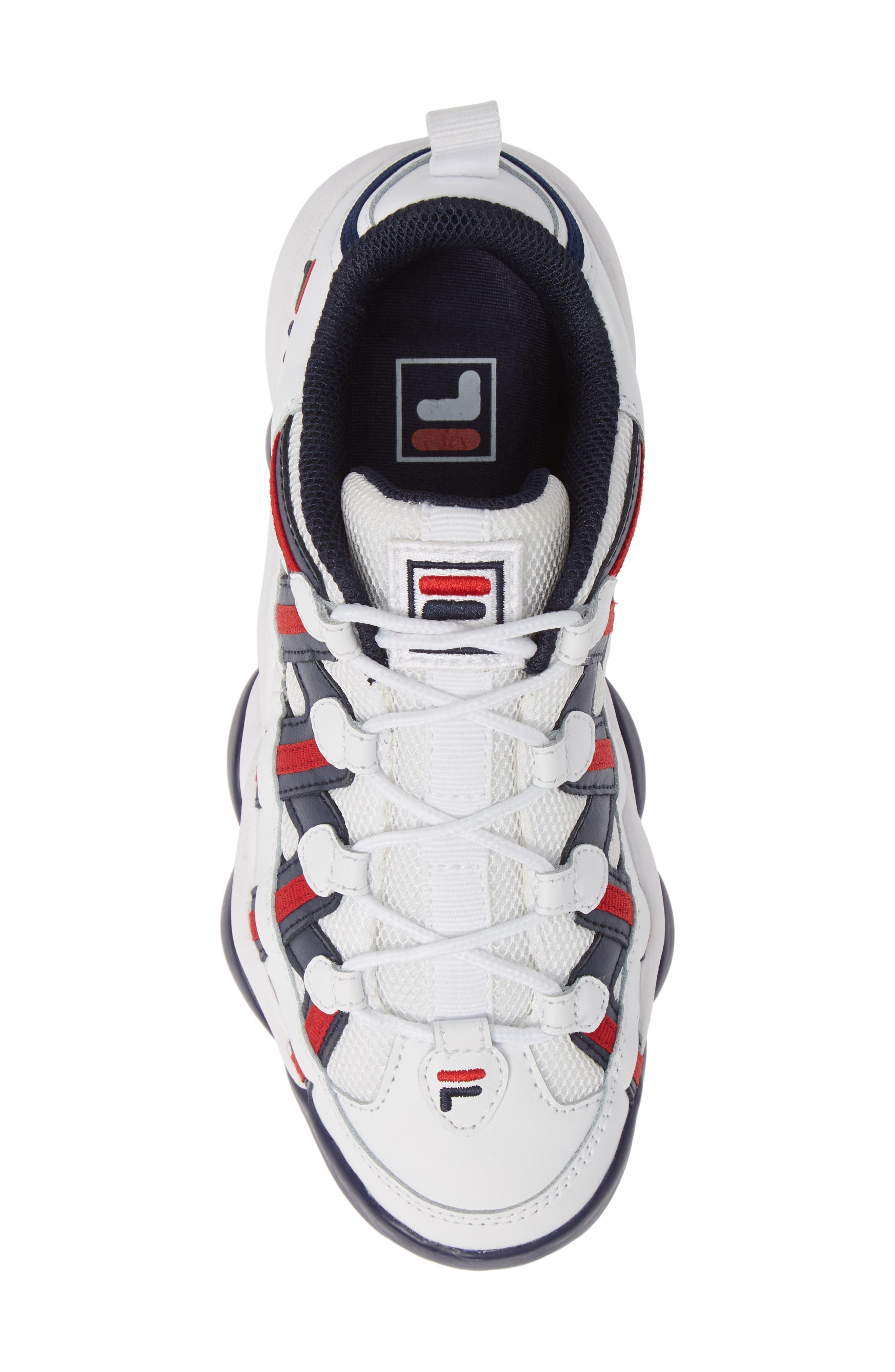 FILA, Spaghetti Low Sneaker, Alternate thumbnail 5, color, WHITE/ FILA NAVY/ FILA RED