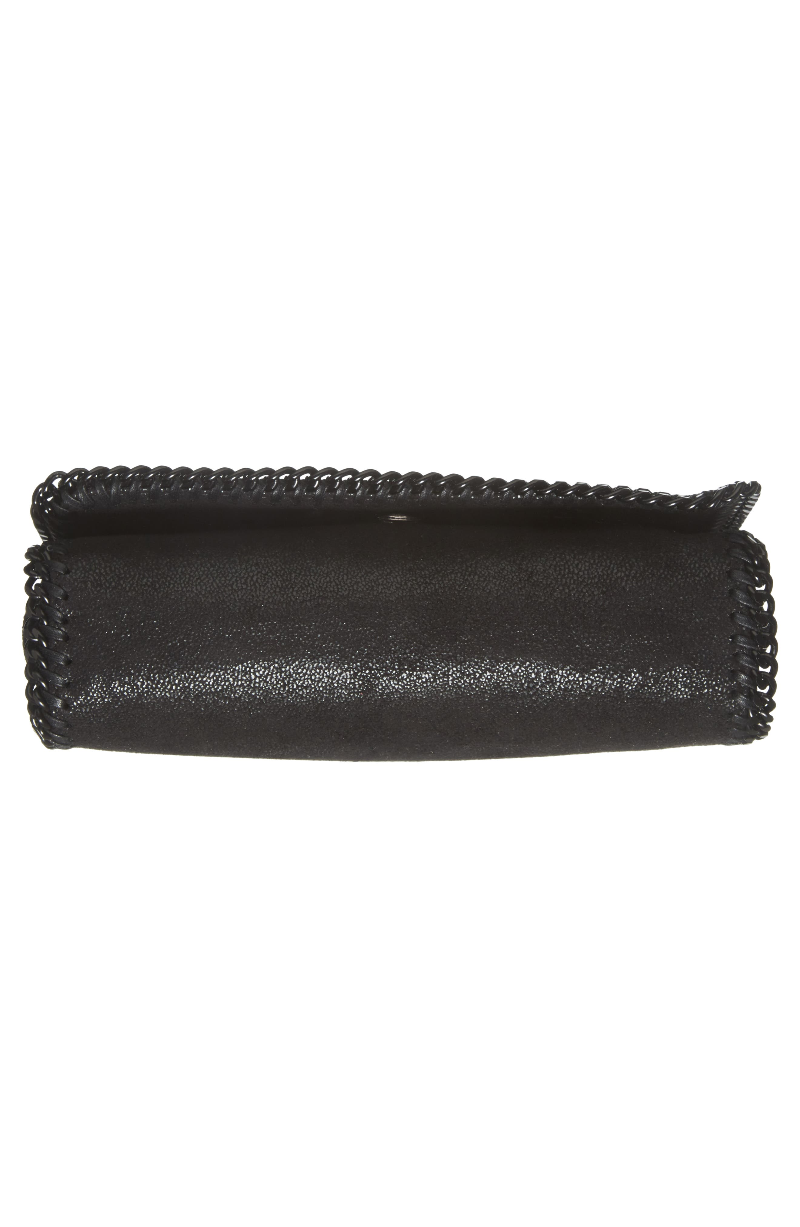 STELLA MCCARTNEY, Falabella Shaggy Deer Faux Leather Clutch, Alternate thumbnail 6, color, BLACK OUT