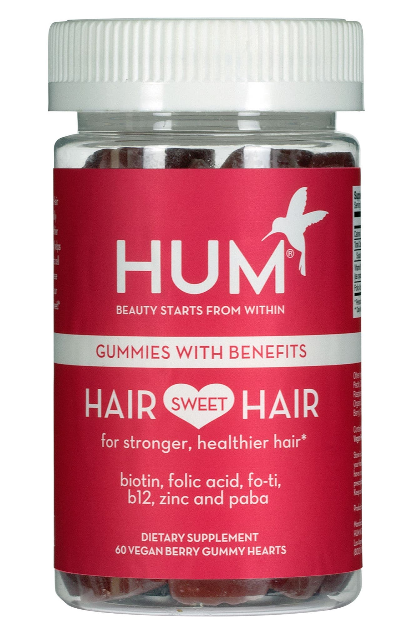 HUM NUTRITION, Hair Sweet Hair Gummies Supplement for Healthy Hair, Main thumbnail 1, color, NO COLOR