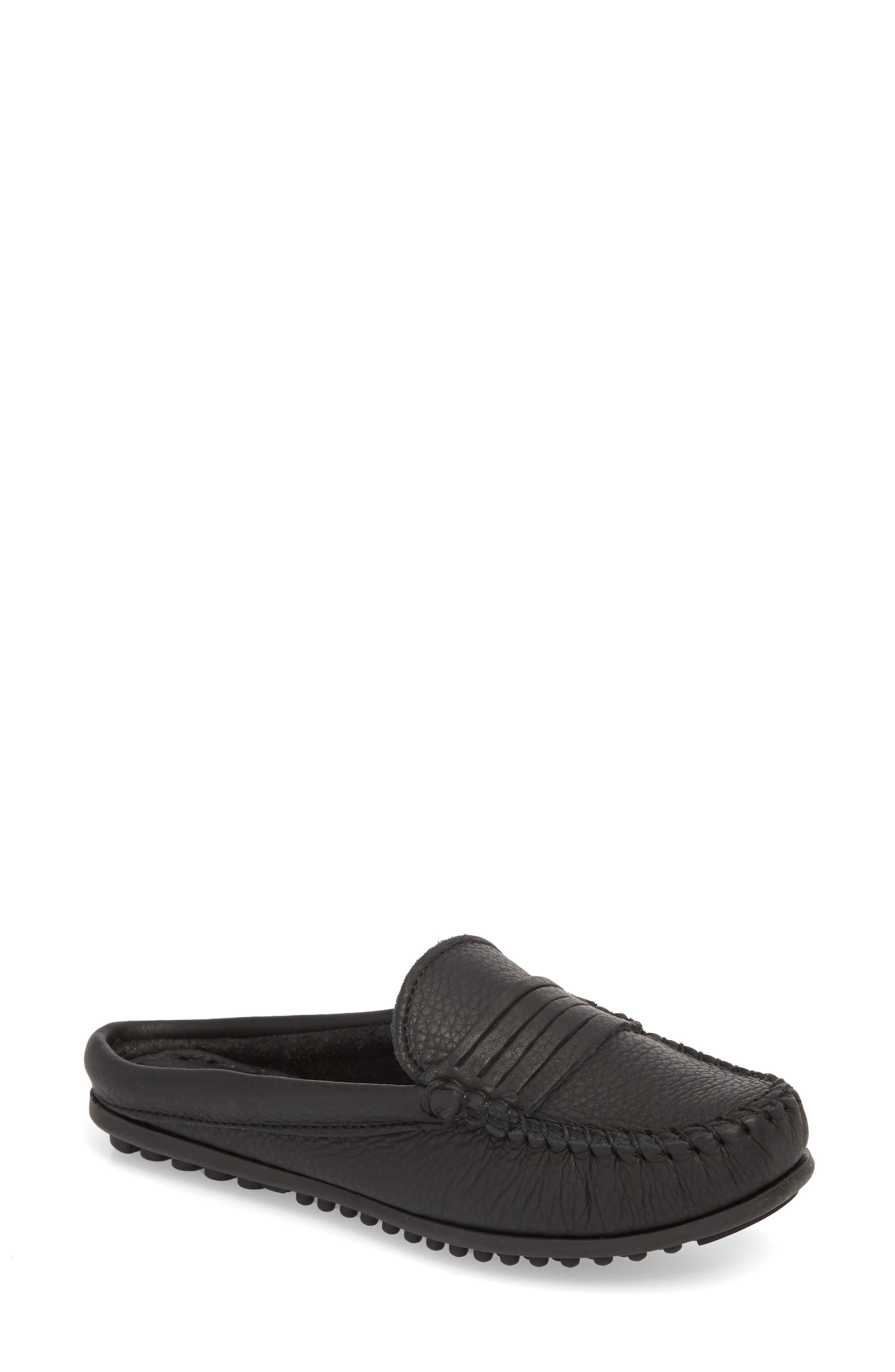 MINNETONKA Kate Moc Toe Loafer Mule, Main, color, BLACK