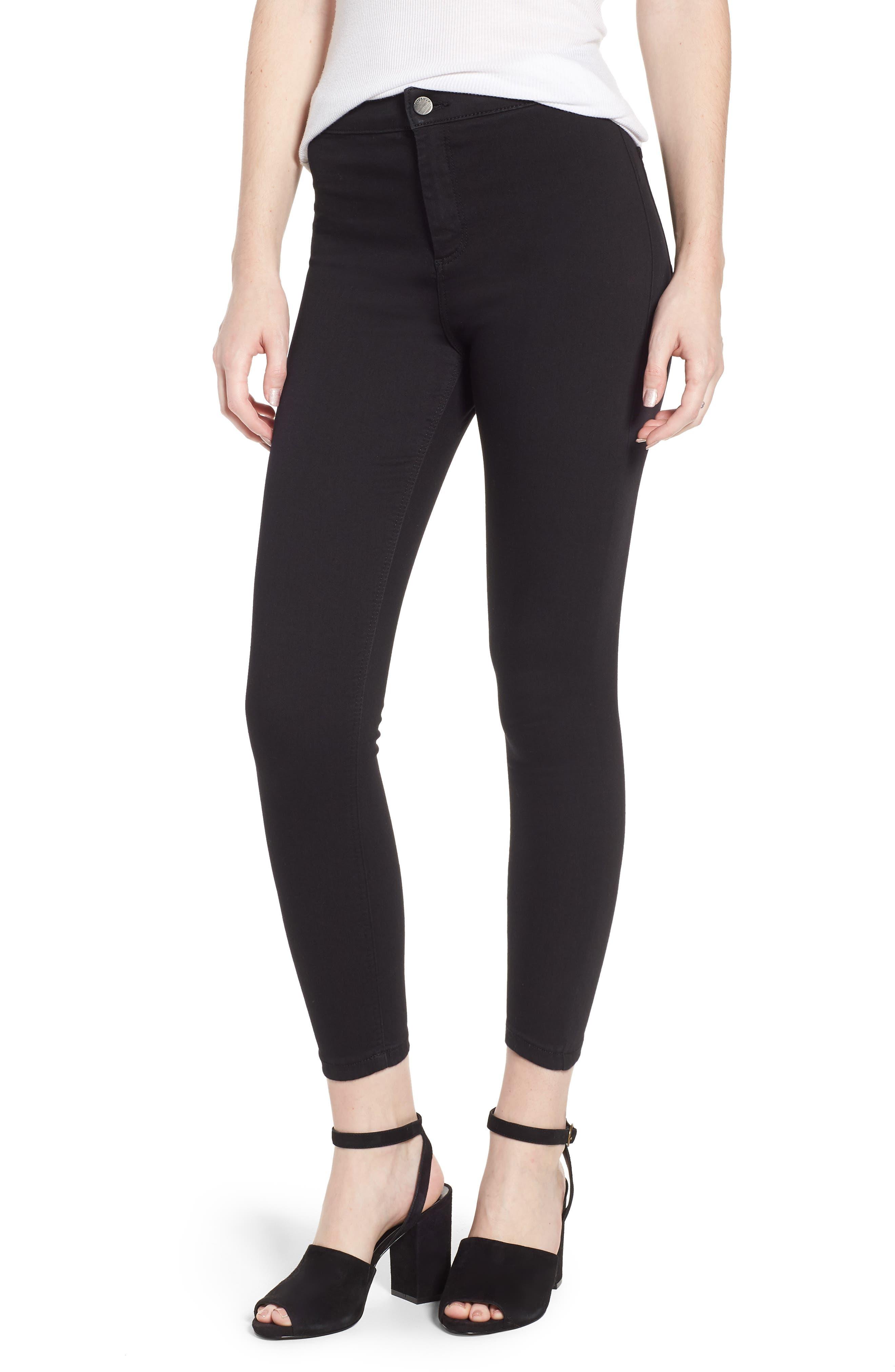 TOPSHOP Joni Jeans, Main, color, BLACK