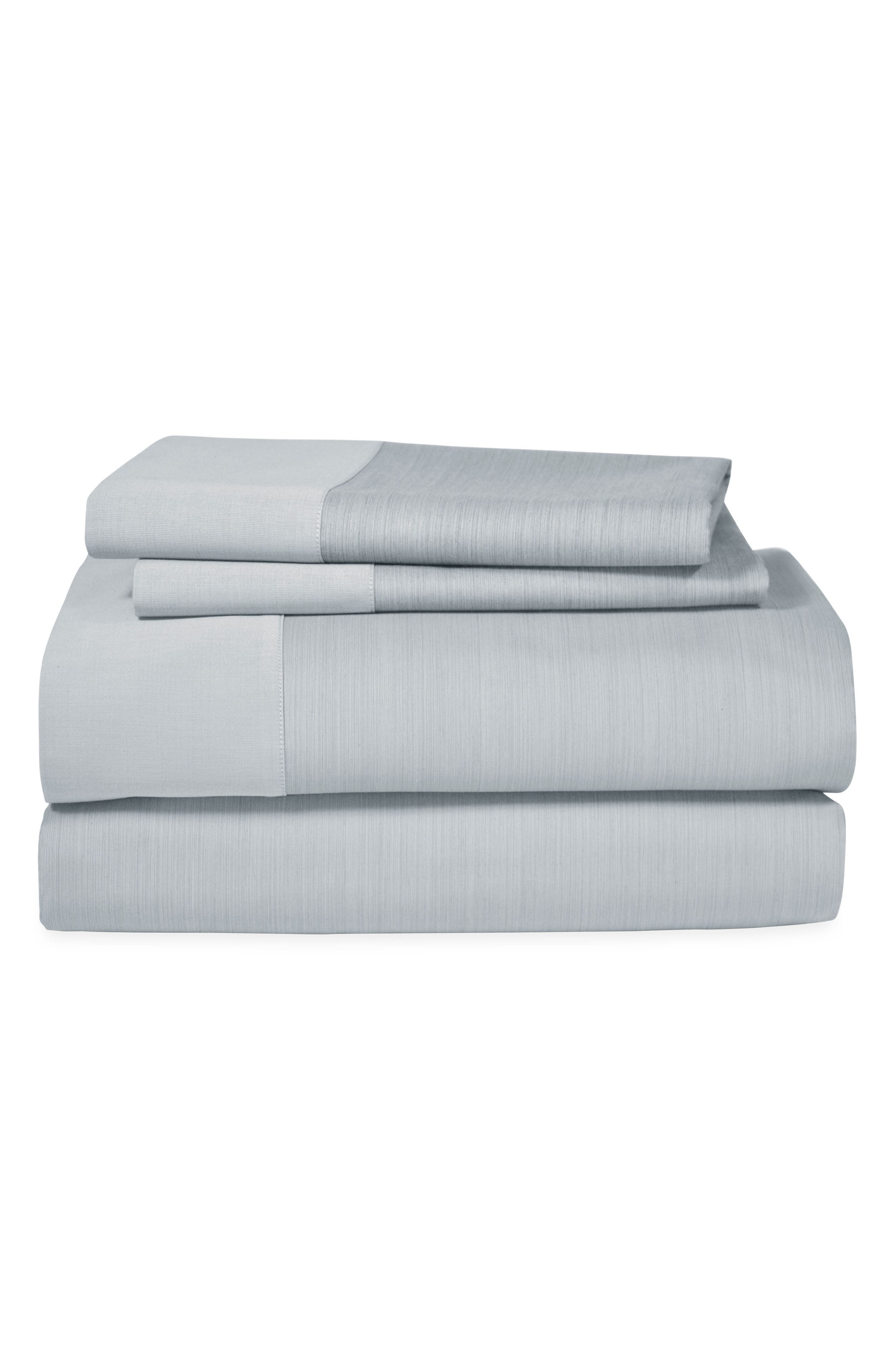MICHAEL ARAM, Striated Band 400 Thread Count Fitted Sheet, Main thumbnail 1, color, GRAY