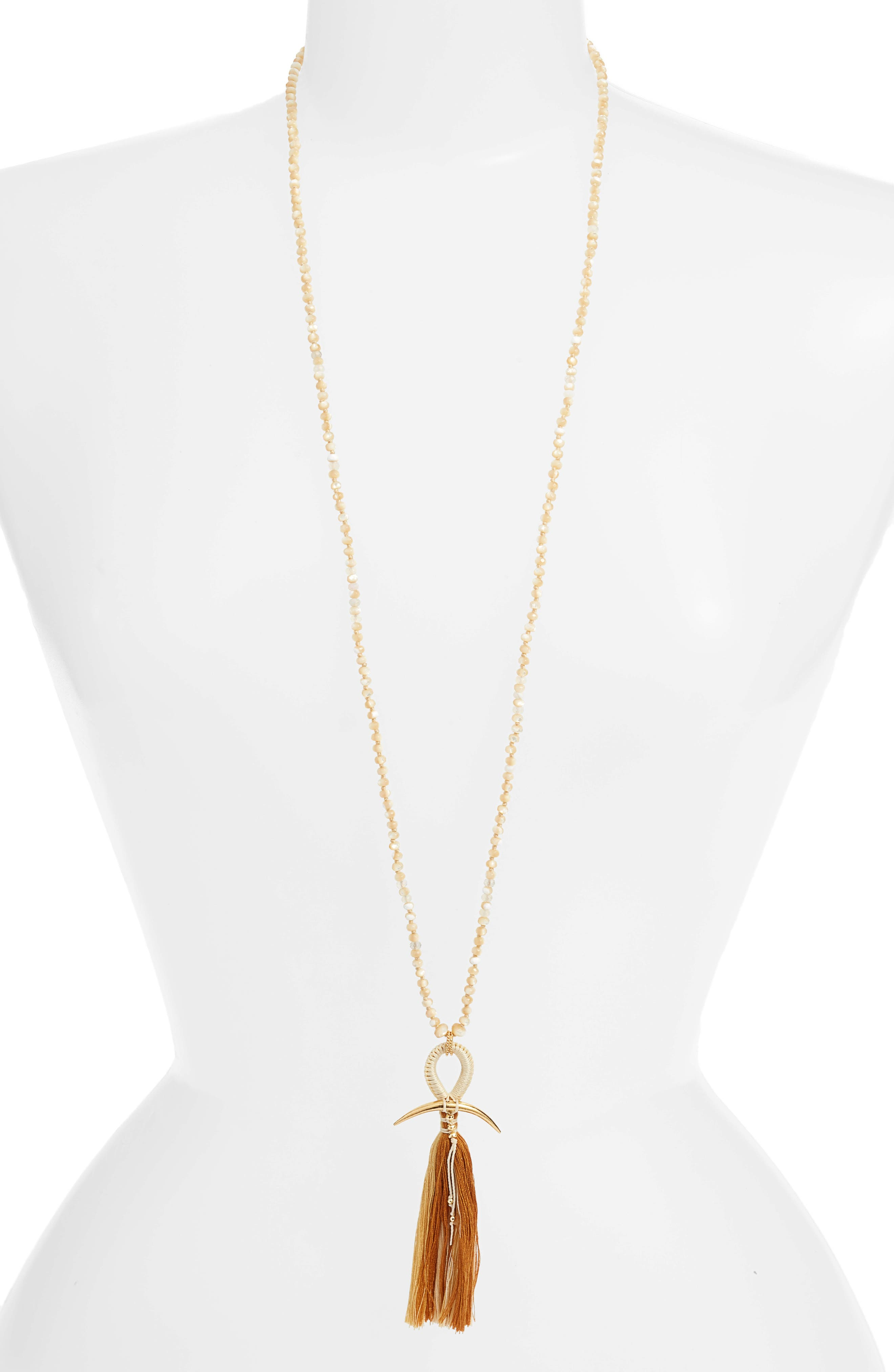 CHAN LUU, Horn & Tassel Layering Necklace, Main thumbnail 1, color, NATURAL MIX