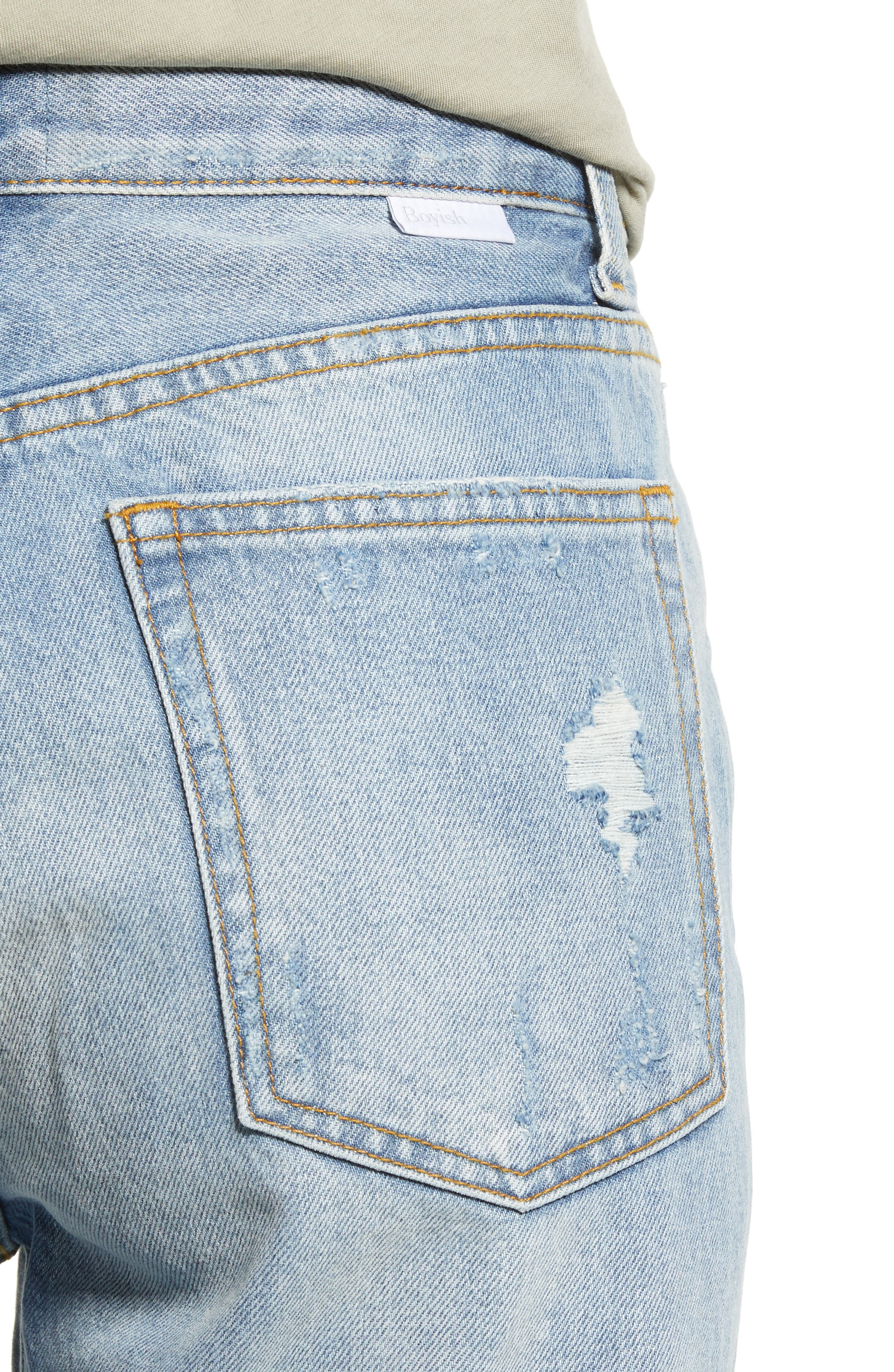 BOYISH JEANS, The Billy Ripped High Waist Ankle Skinny Jeans, Alternate thumbnail 5, color, EASY RIDER