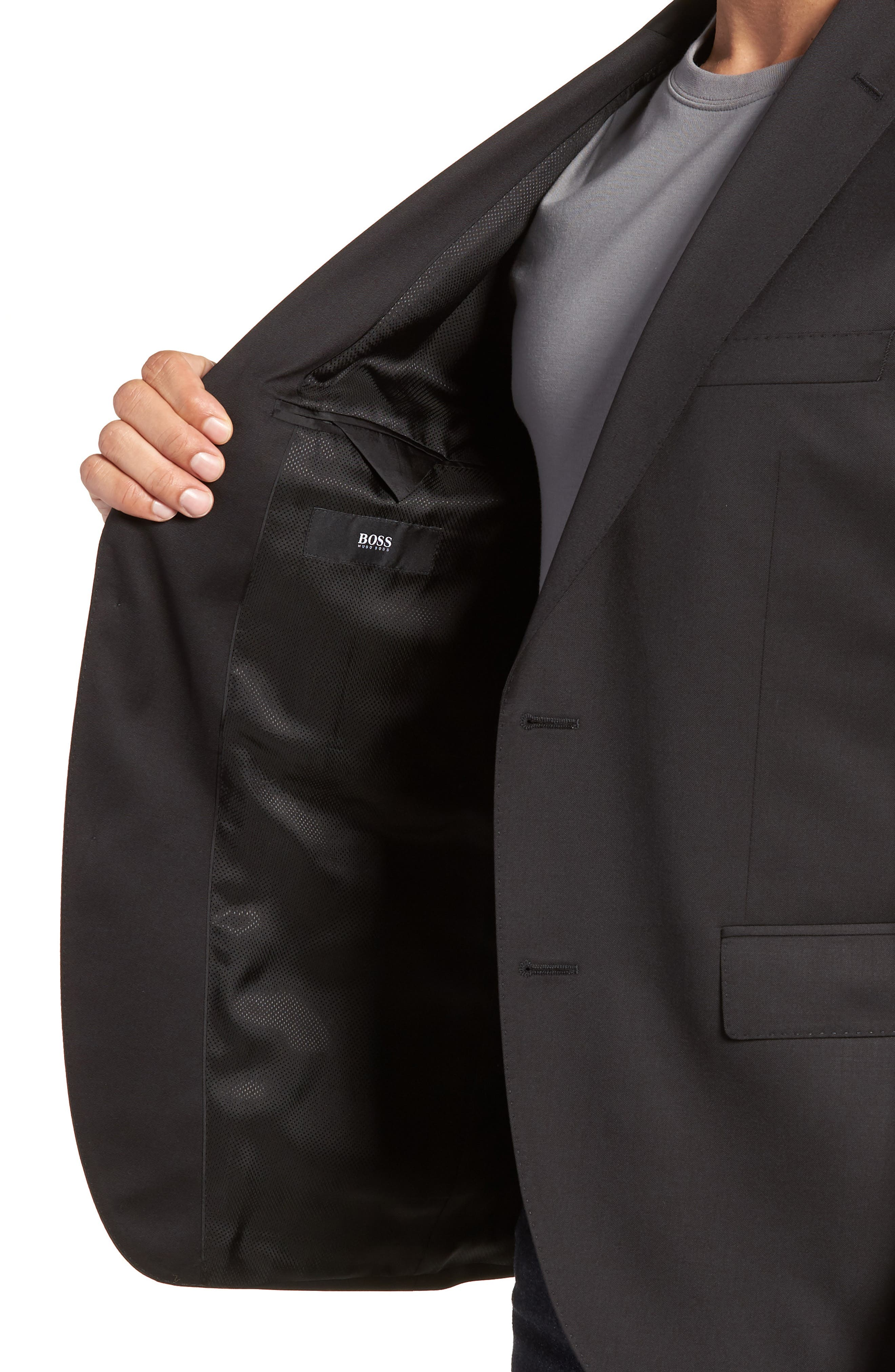 BOSS, Johnstons CYL Classic Fit Solid Wool Sport Coat, Alternate thumbnail 5, color, BLACK