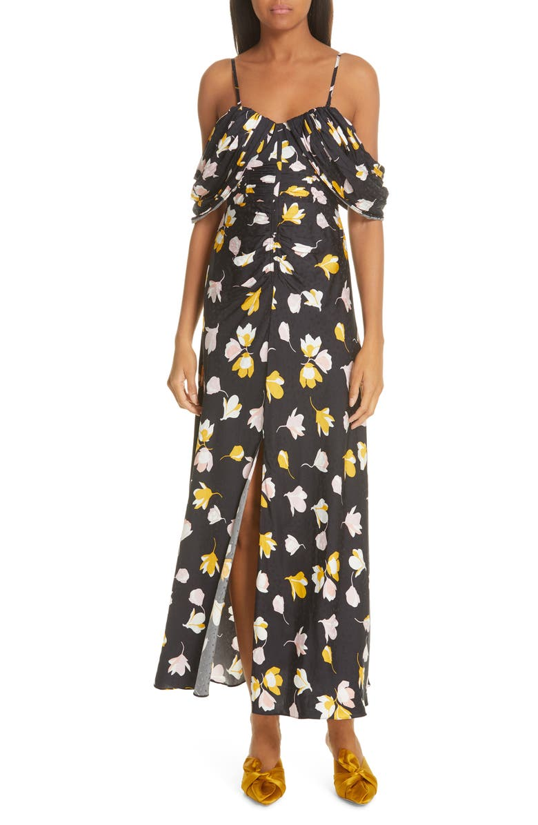 ce520db16167 Self-Portrait Off-The-Shoulder Floral-Print Satin Maxi Dress In Black