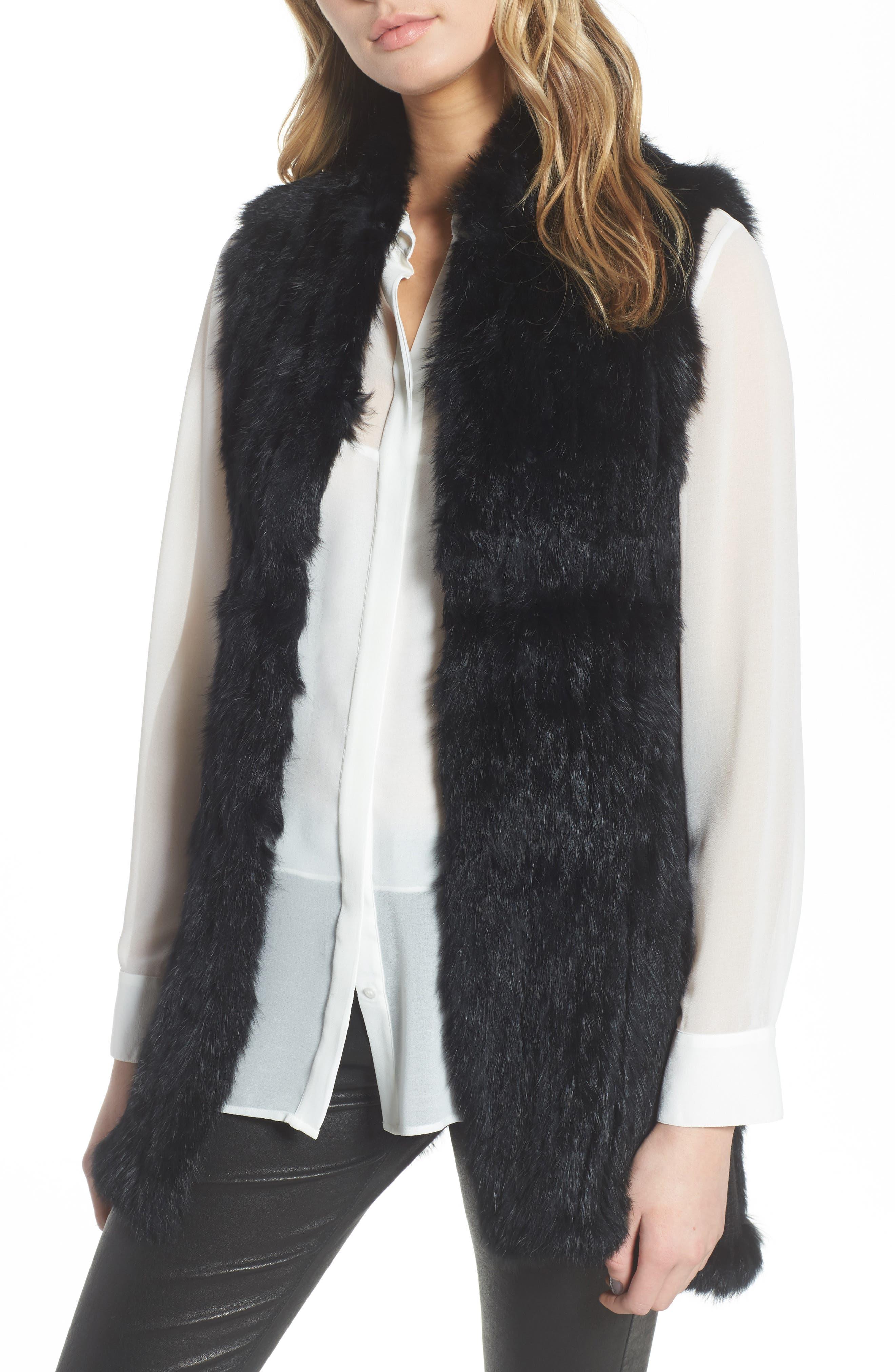 LOVE TOKEN, Genuine Rabbit Fur & Knit Vest, Main thumbnail 1, color, 001