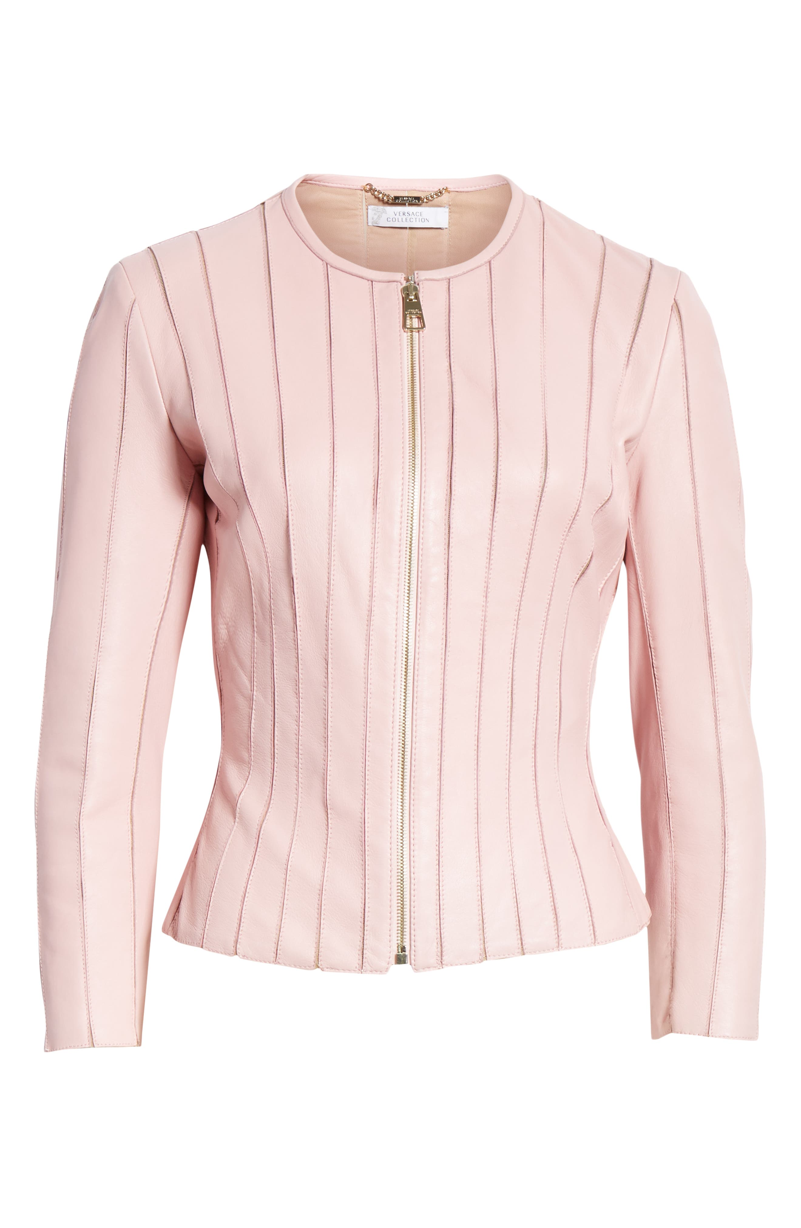 VERSACE COLLECTION, Mesh Rib Leather Jacket, Alternate thumbnail 5, color, PASTEL ROSE