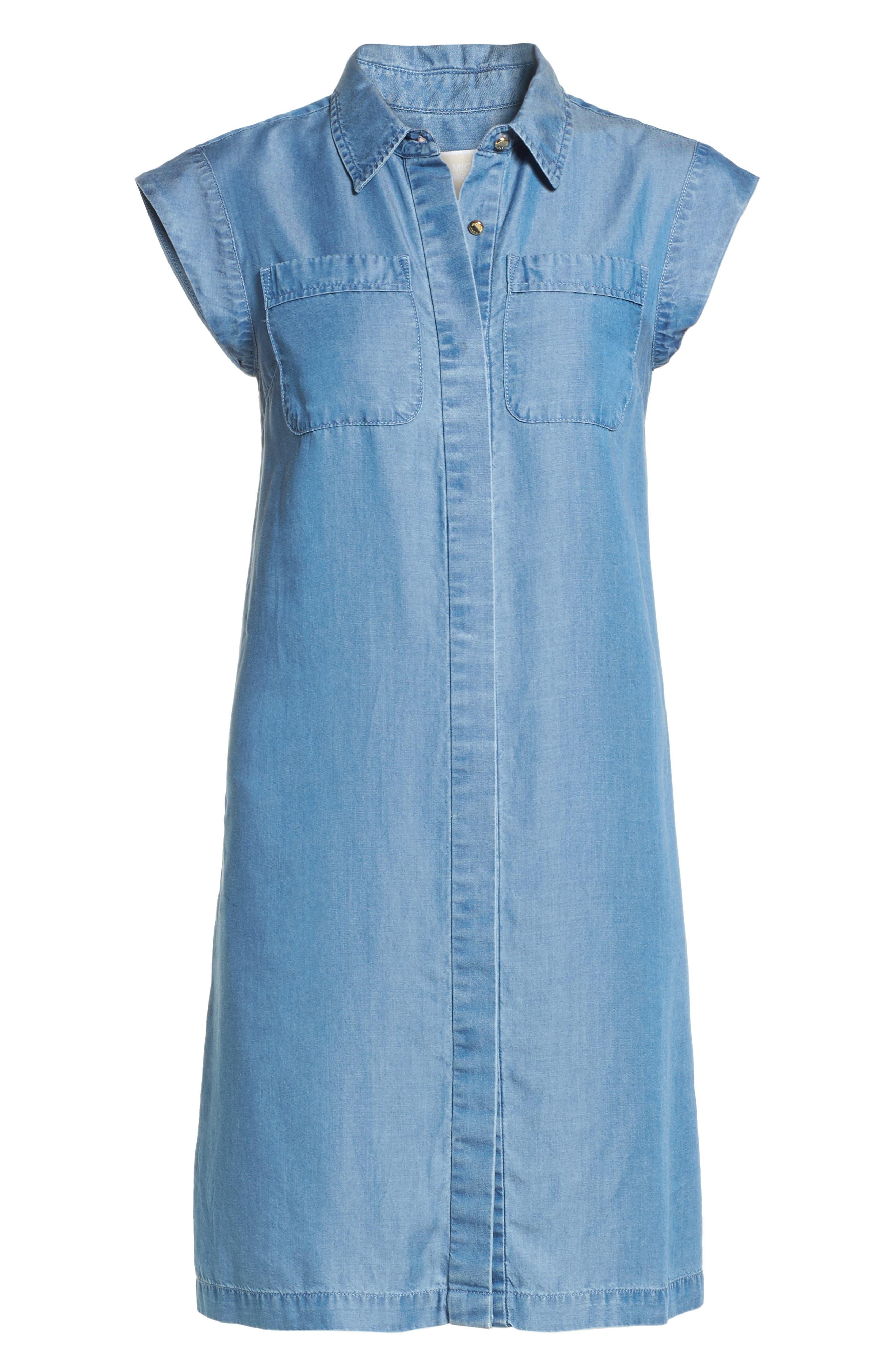 MICHAEL MICHAEL KORS, Patch Pocket Chambray Shirtdress, Alternate thumbnail 6, color, 401
