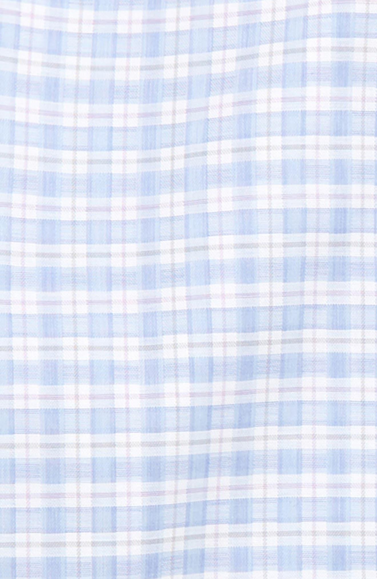 MICHAEL KORS, Plaid Dress Shirt, Alternate thumbnail 2, color, BLUE/ PINK