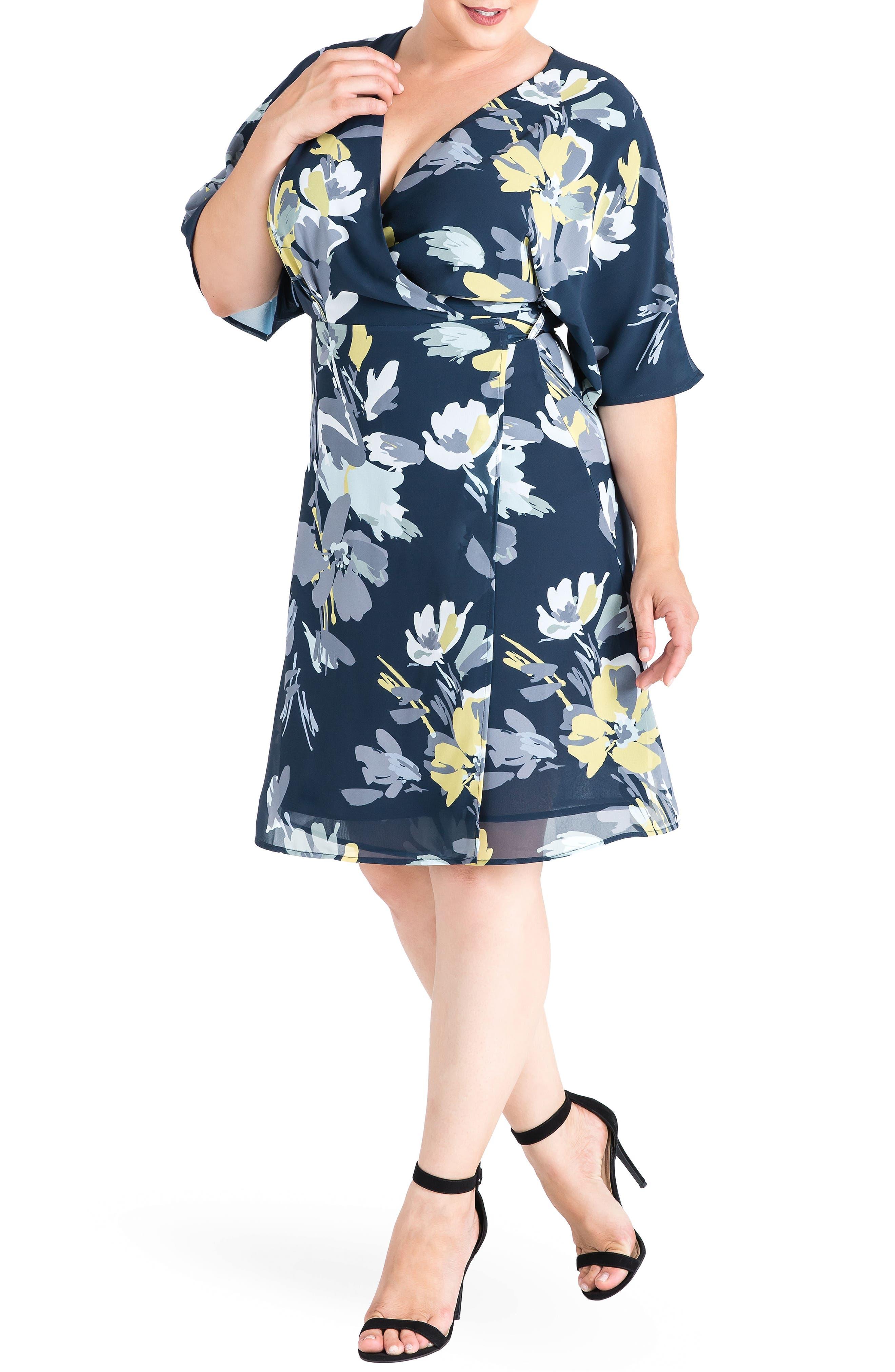 STANDARDS & PRACTICES, Candice Georgette Wrap Dress, Alternate thumbnail 3, color, NAVY PETALS