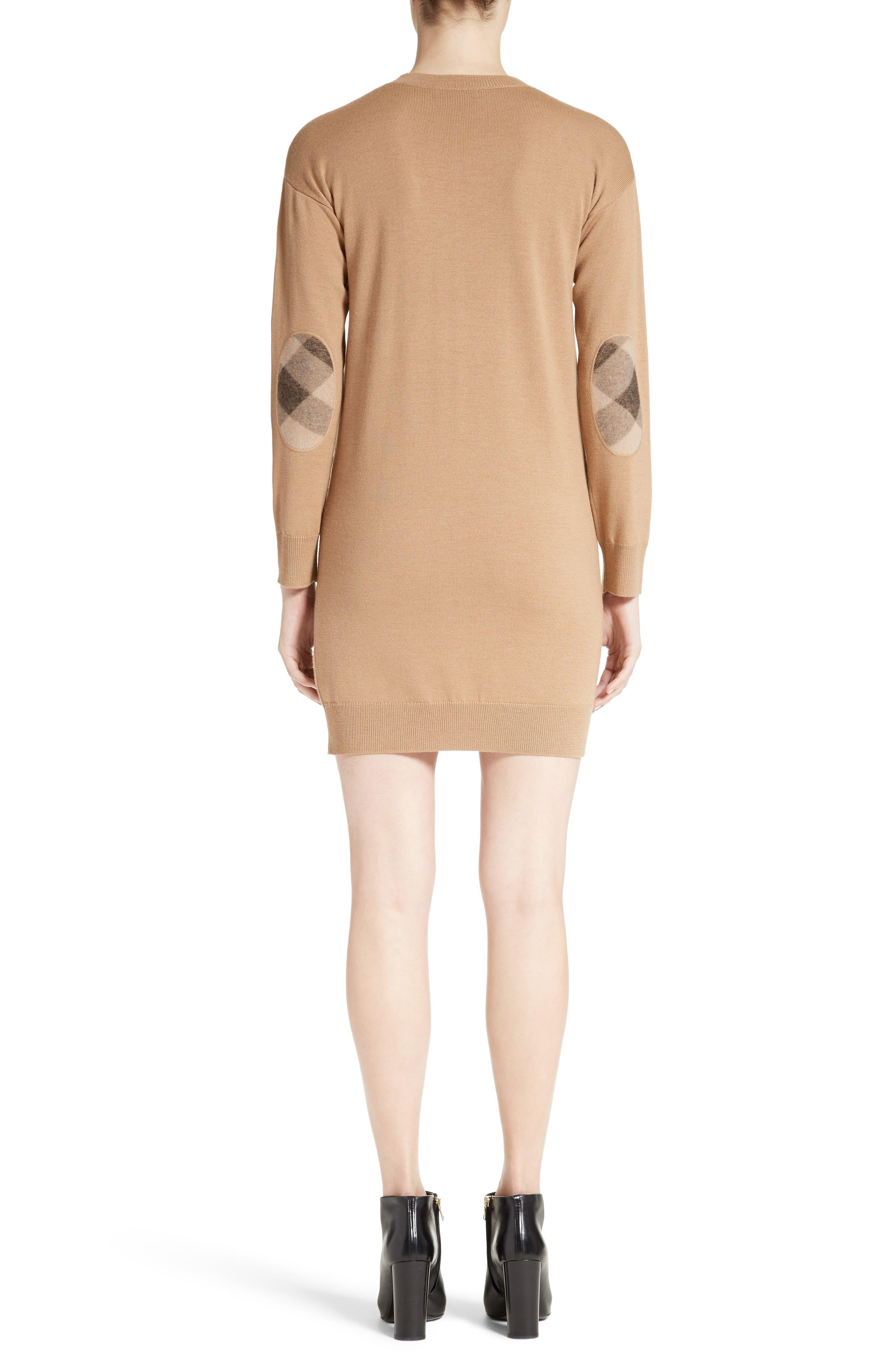 BURBERRY, Alewater Elbow Patch Merino Wool Dress, Alternate thumbnail 2, color, CAMEL