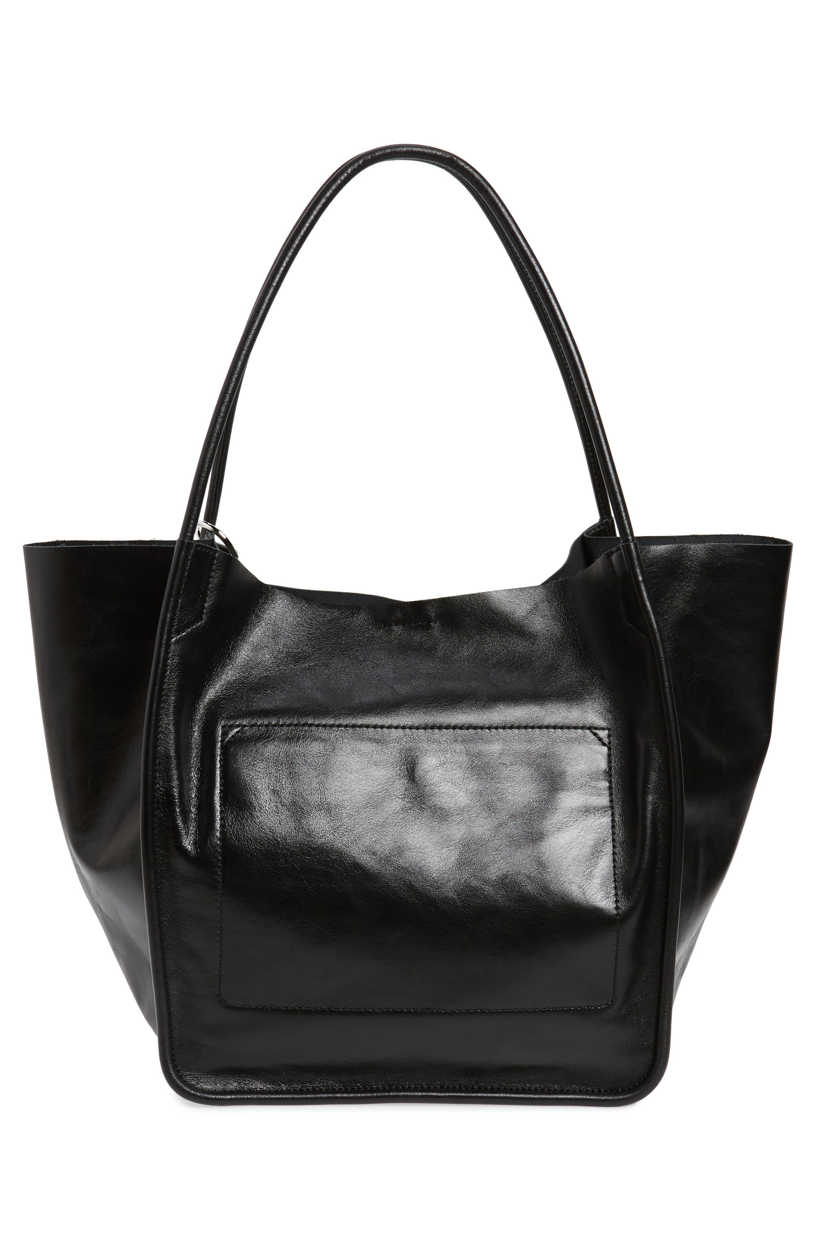 PROENZA SCHOULER, Large Calfskin Leather Tote, Alternate thumbnail 3, color, BLACK