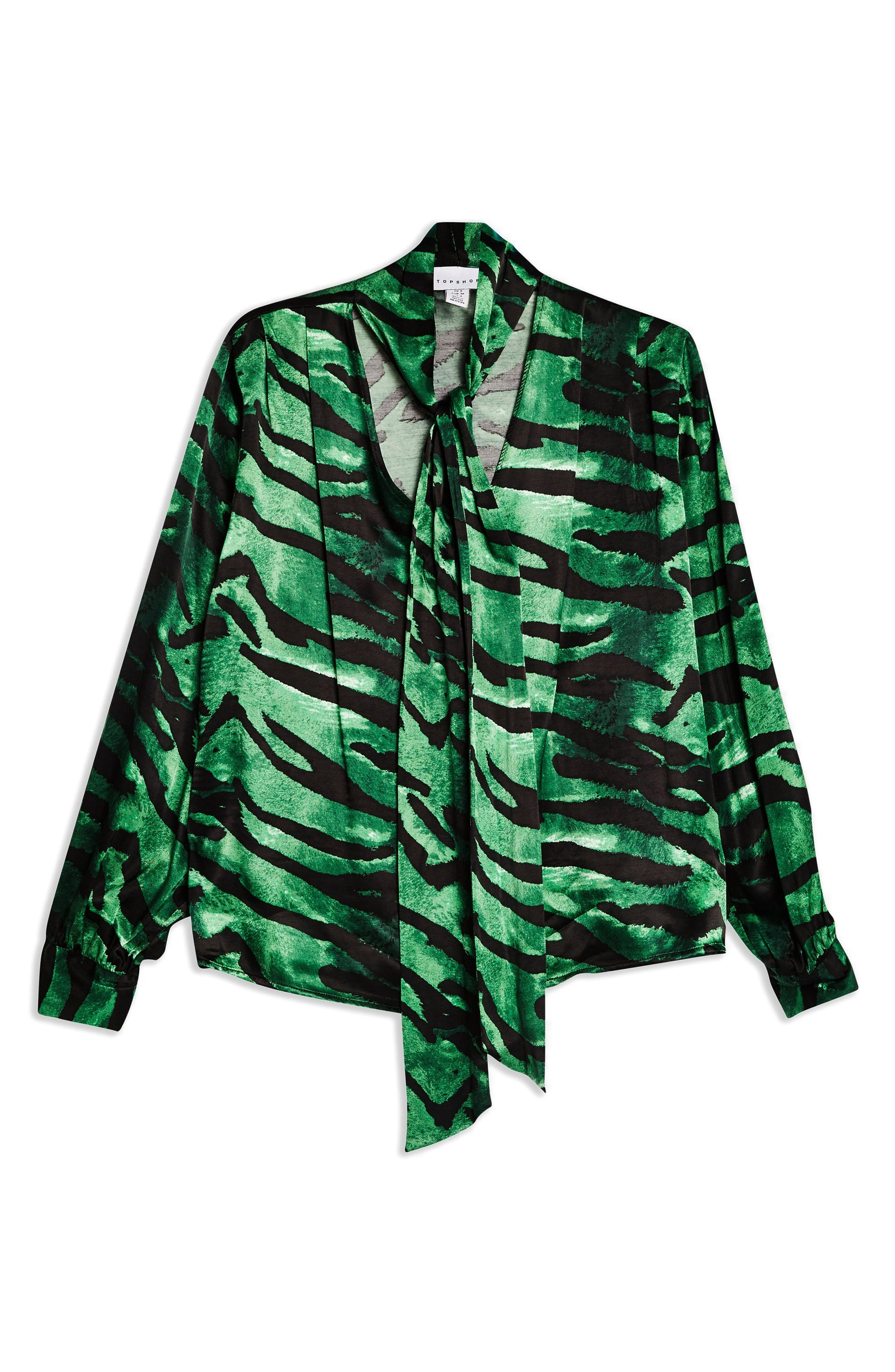 TOPSHOP, Tiger Print Pussybow Blouse, Alternate thumbnail 4, color, GREEN MULTI