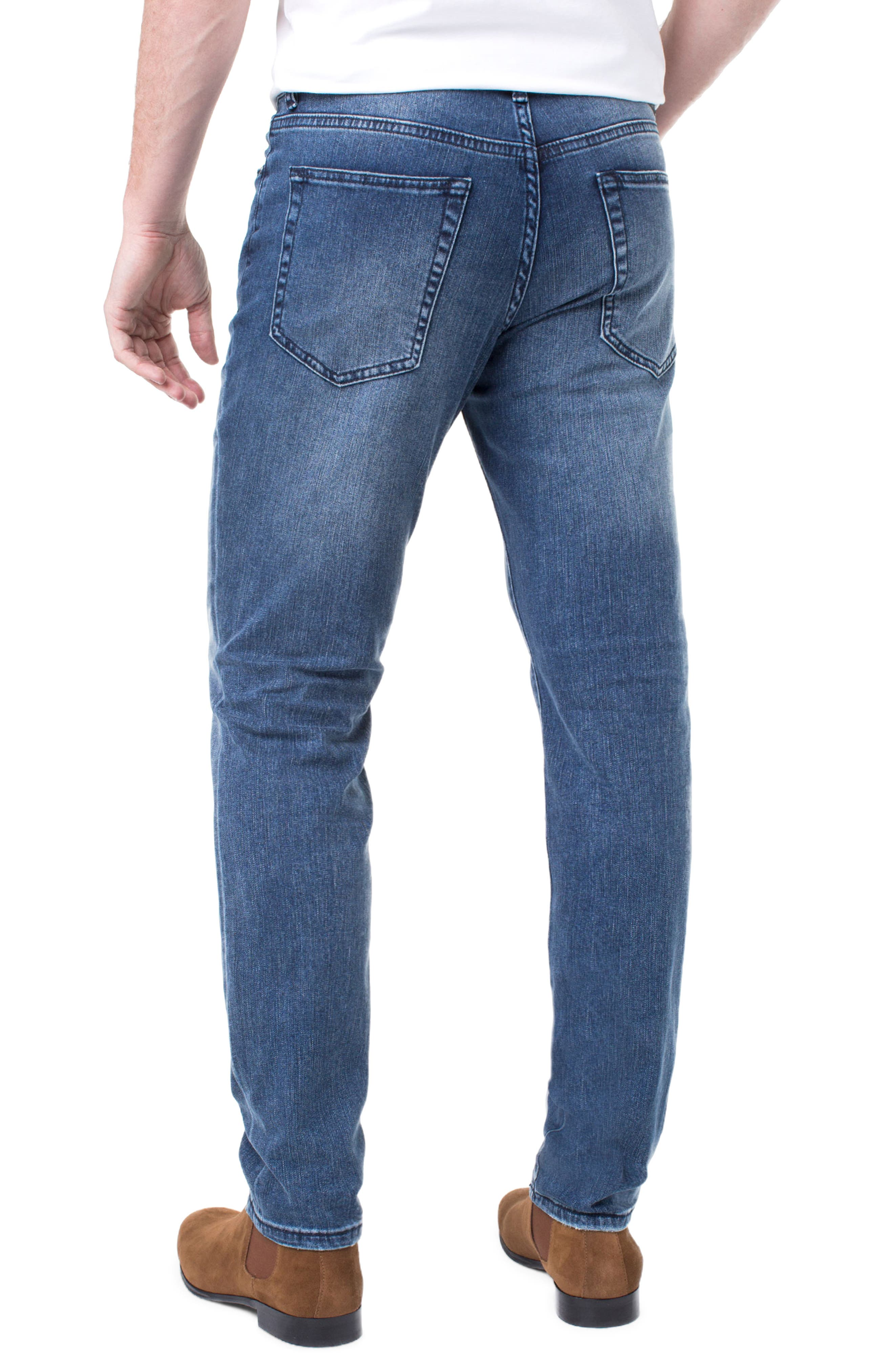 LIVERPOOL, Regent Relaxed Straight Leg Jeans, Alternate thumbnail 2, color, SOUTHAVEN MID B