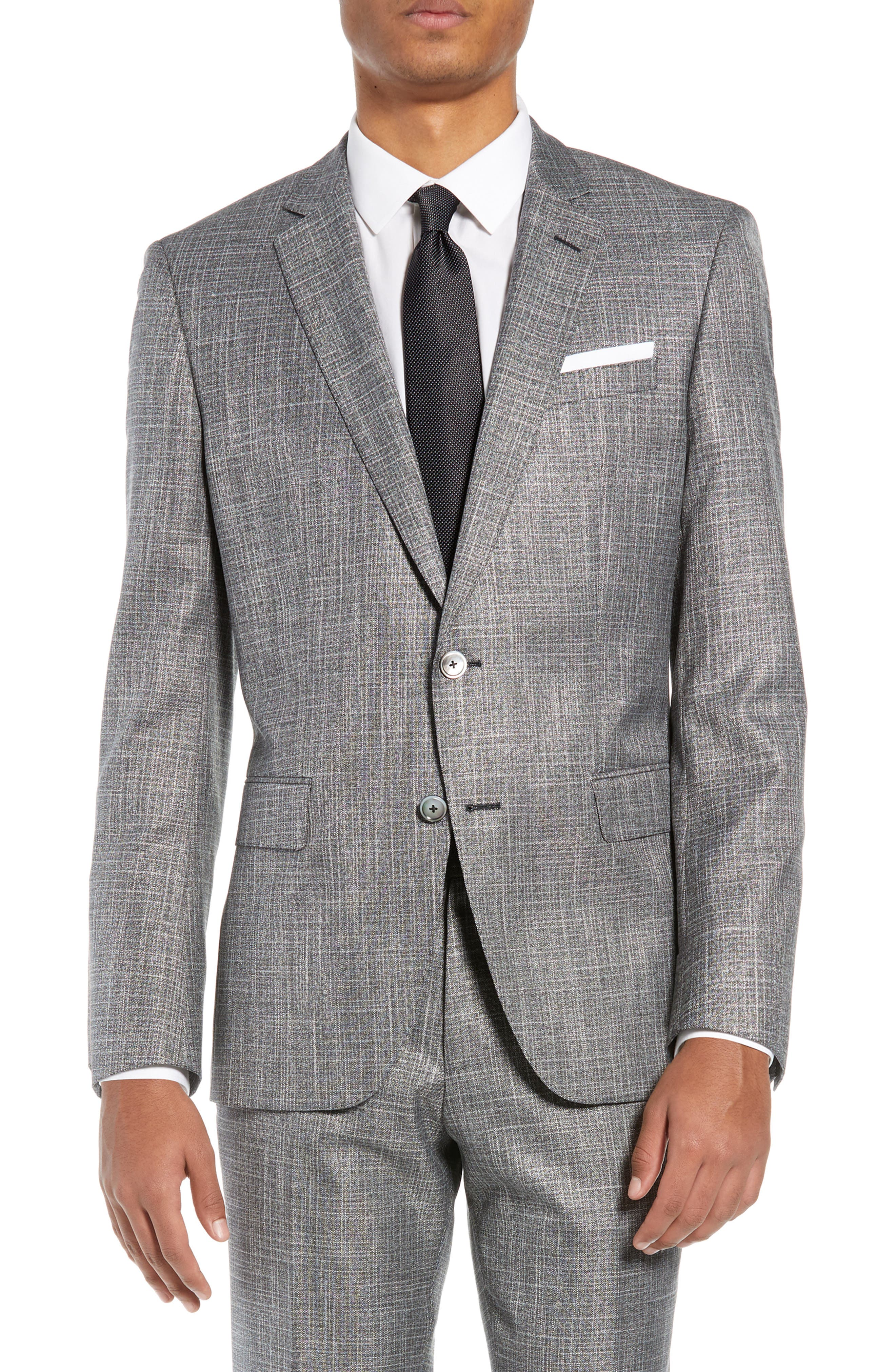 BOSS, Hutson/Gander Slim Fit Solid Wool Blend Suit, Alternate thumbnail 5, color, MEDIUM GREY