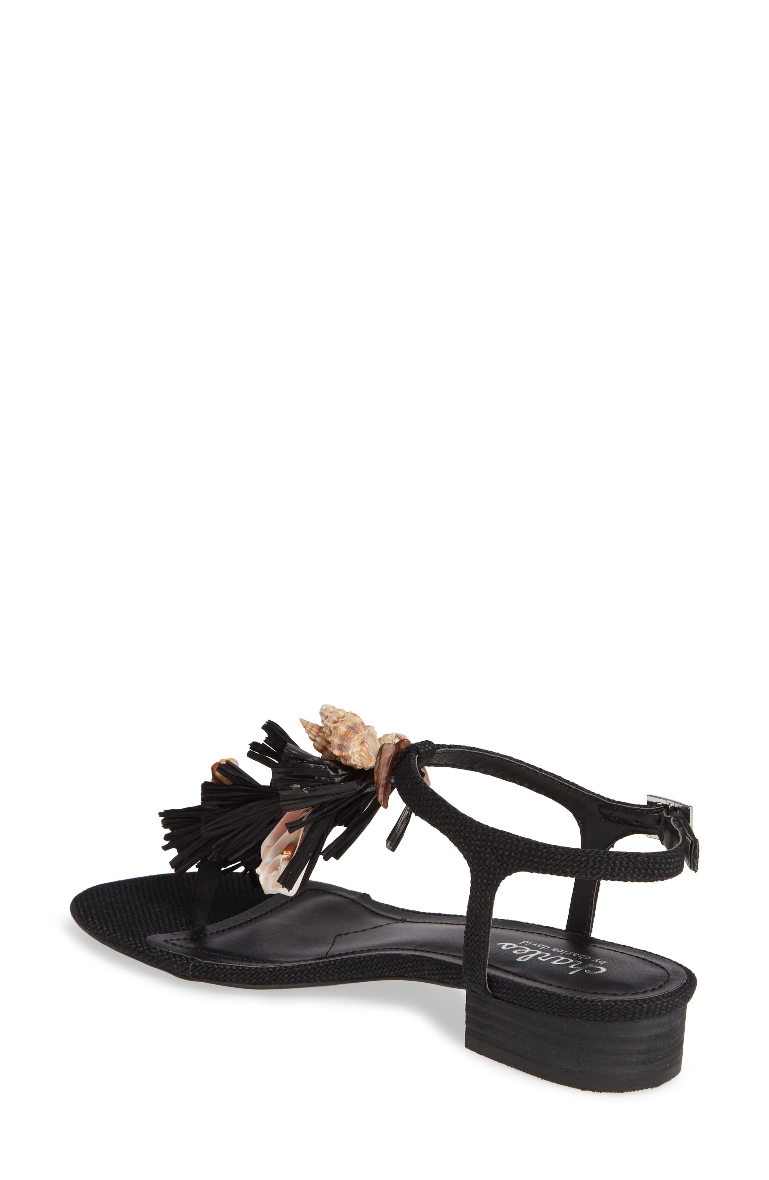 CHARLES BY CHARLES DAVID, Seashell Sandal, Alternate thumbnail 2, color, BLACK FABRIC