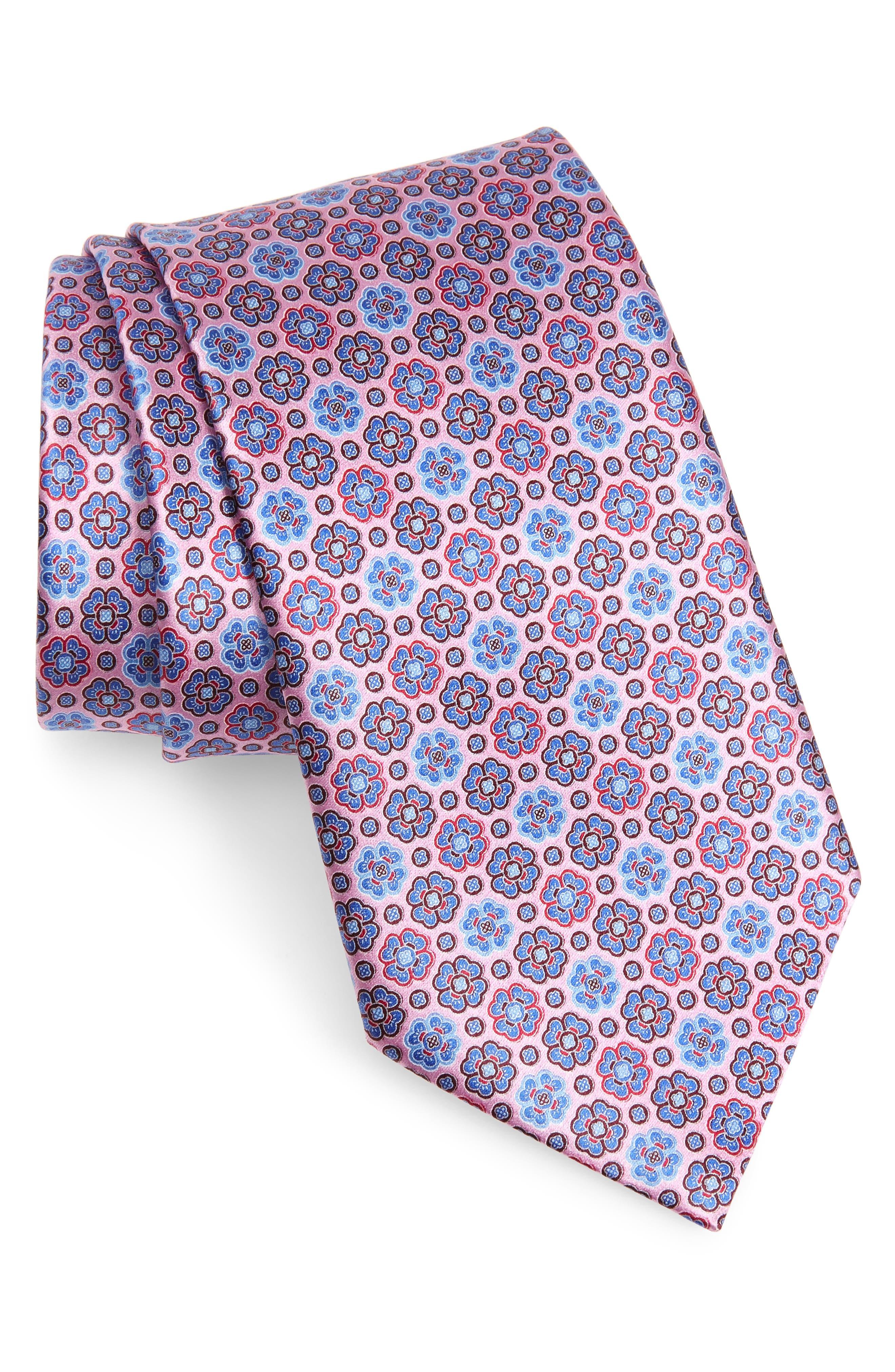 ERMENEGILDO ZEGNA, Micro Floral Silk Tie, Main thumbnail 1, color, PINK
