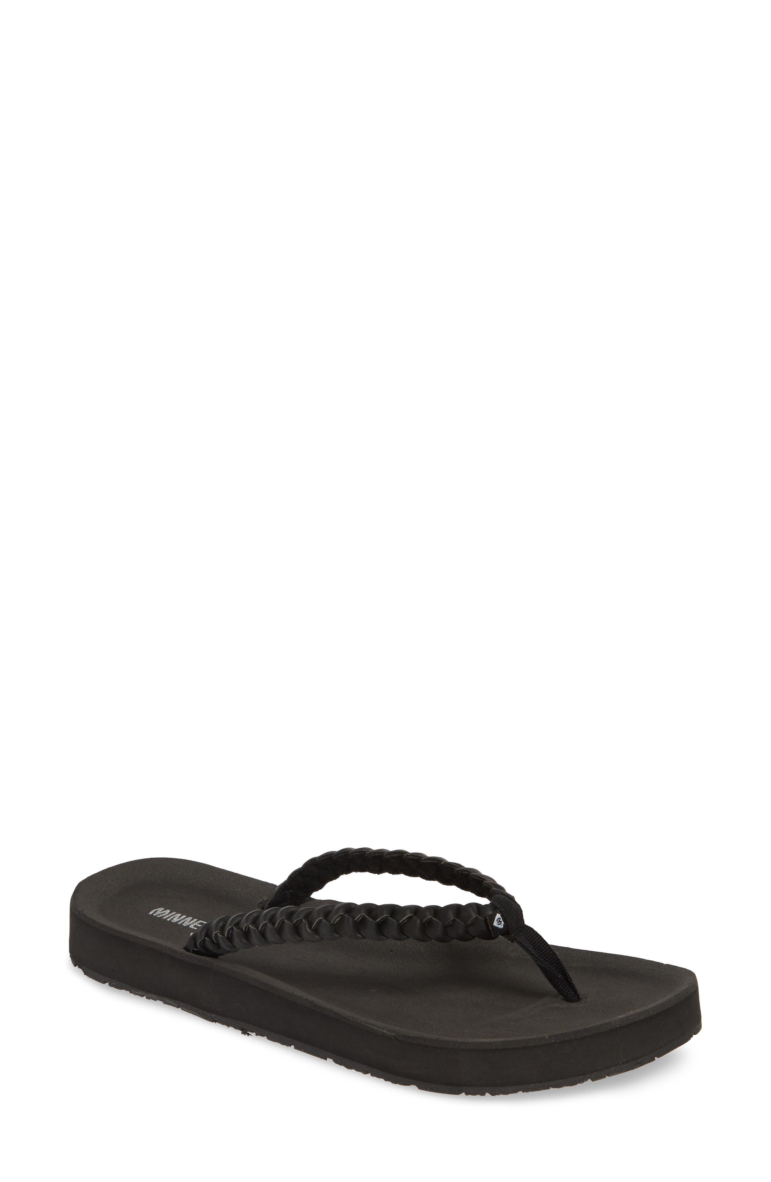 MINNETONKA Hallie Flip Flop, Main, color, BLACK