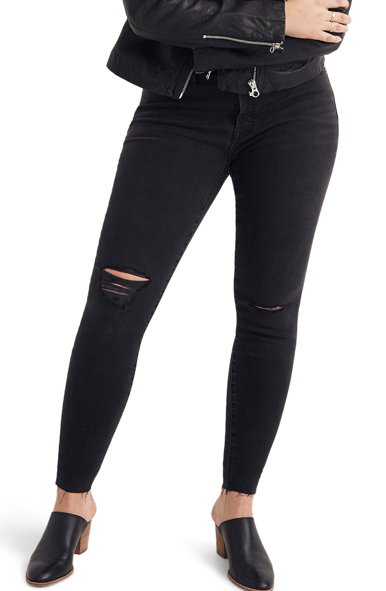 MADEWELL, 9-Inch High Waist Skinny Jeans, Alternate thumbnail 2, color, BLACK SEA