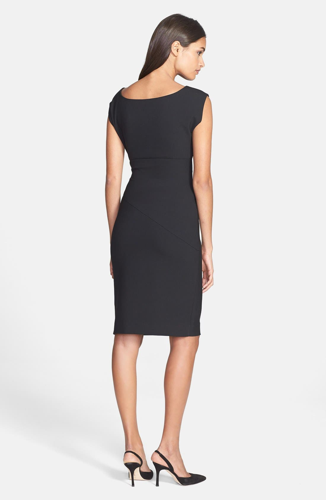 DIANE VON FURSTENBERG, 'Bevin' Ruched Knit Sheath Dress, Alternate thumbnail 3, color, 001