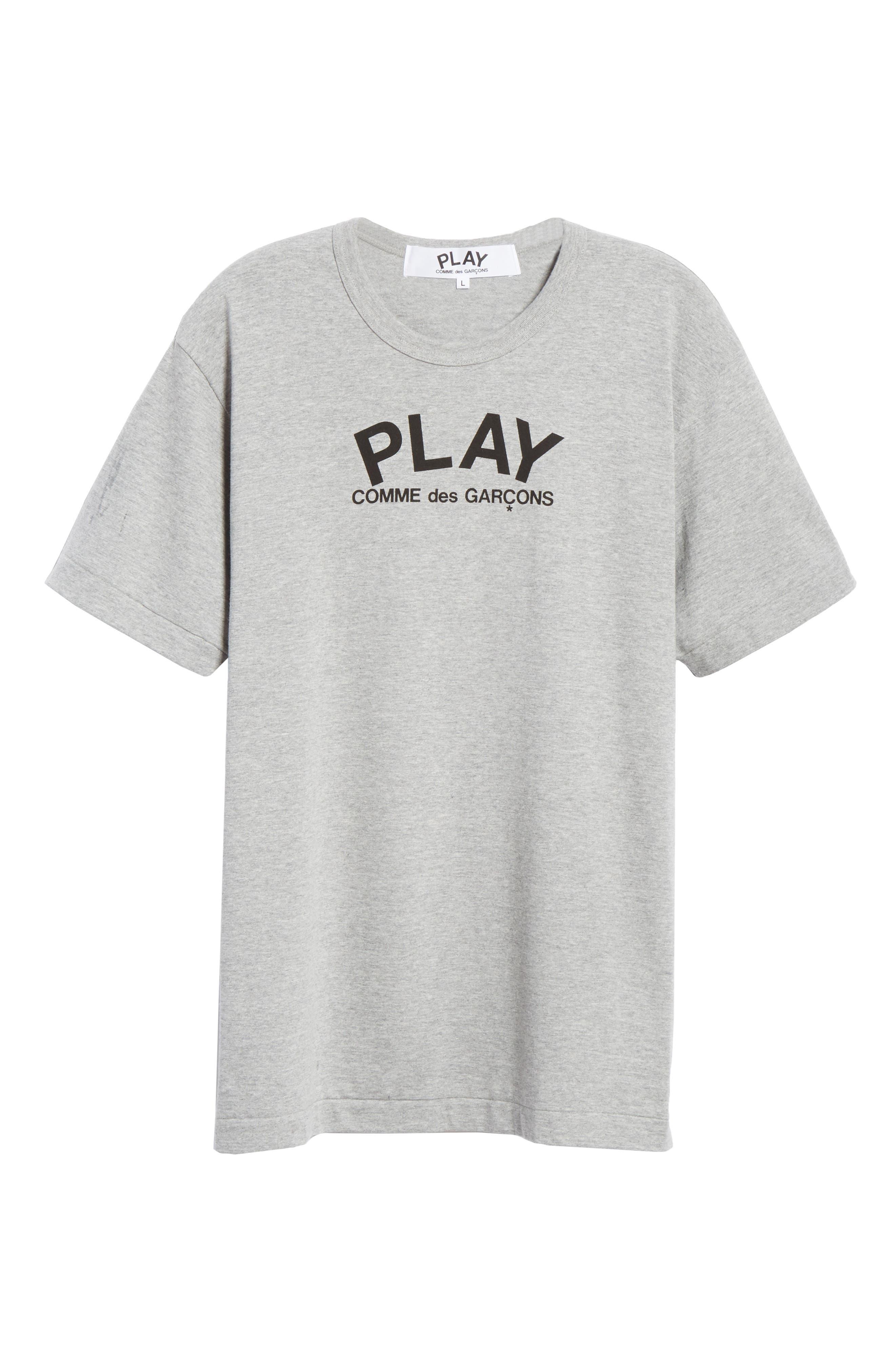 COMME DES GARÇONS PLAY, Logo T-Shirt, Alternate thumbnail 6, color, GREY