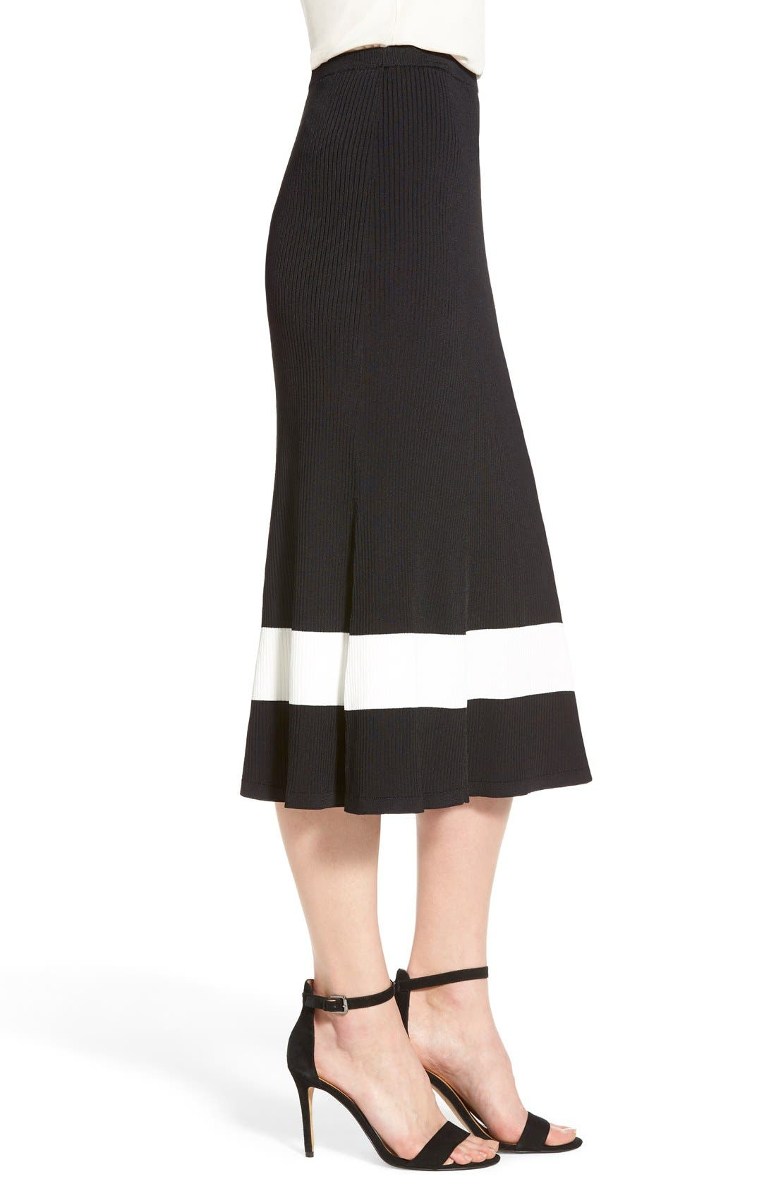 HALOGEN<SUP>®</SUP>, Long Rib Knit Sweater Skirt, Alternate thumbnail 4, color, 001