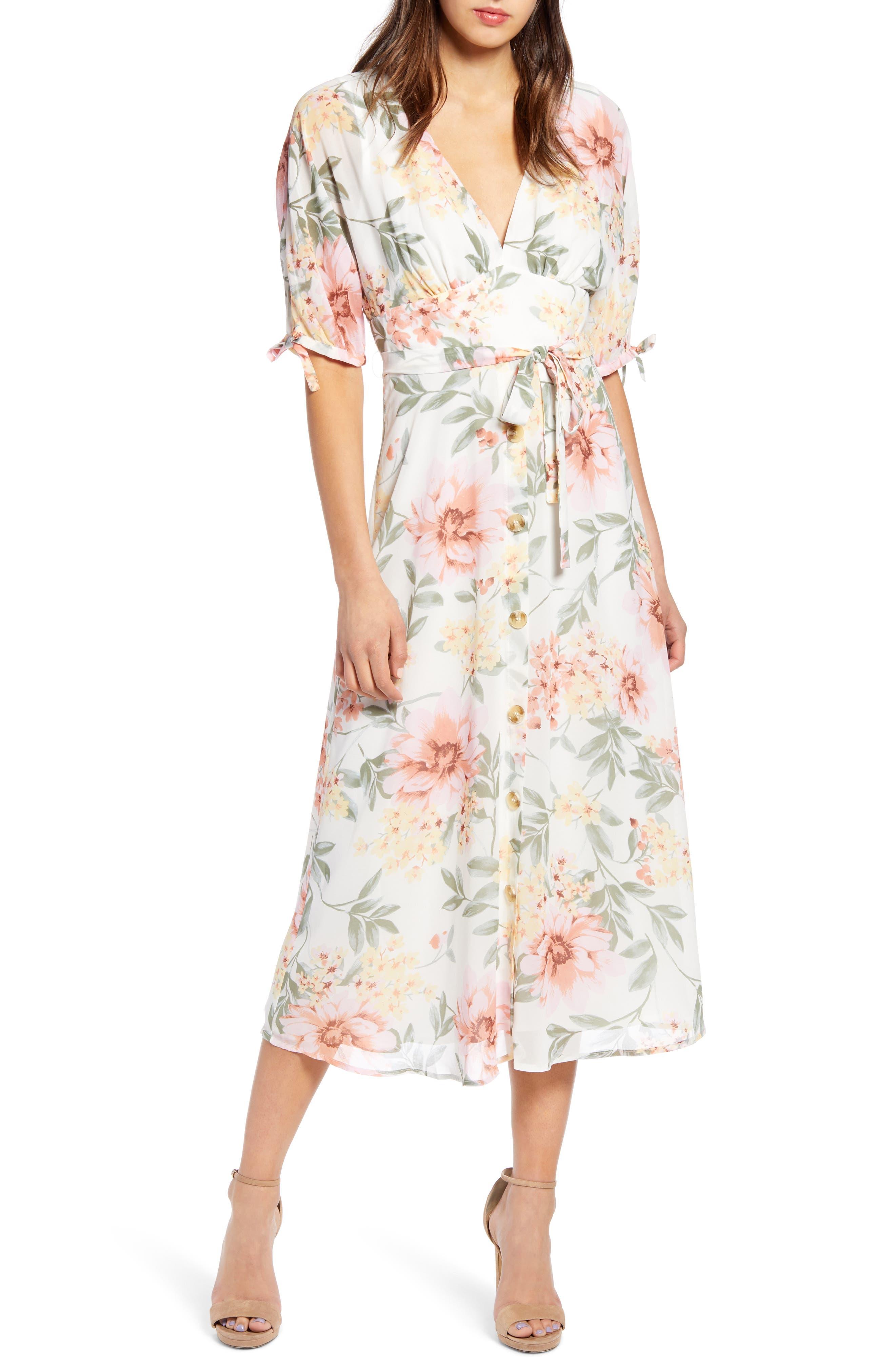 JUNE & HUDSON, Floral V-Neck Tie Front Dress, Main thumbnail 1, color, IVORY/ ROSE/ SAGE