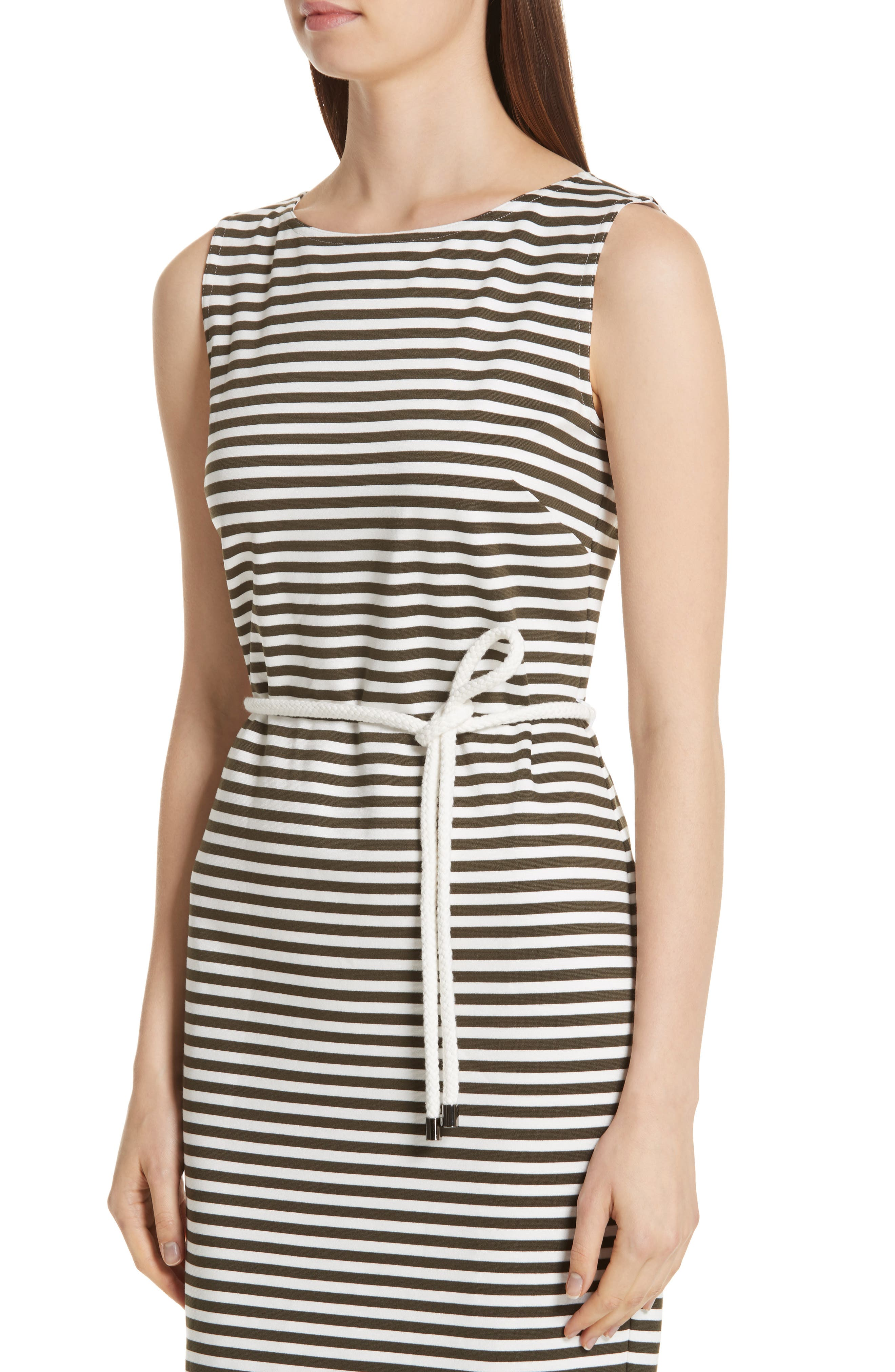 MAX MARA, Comica Stripe Dress, Alternate thumbnail 5, color, KAKI