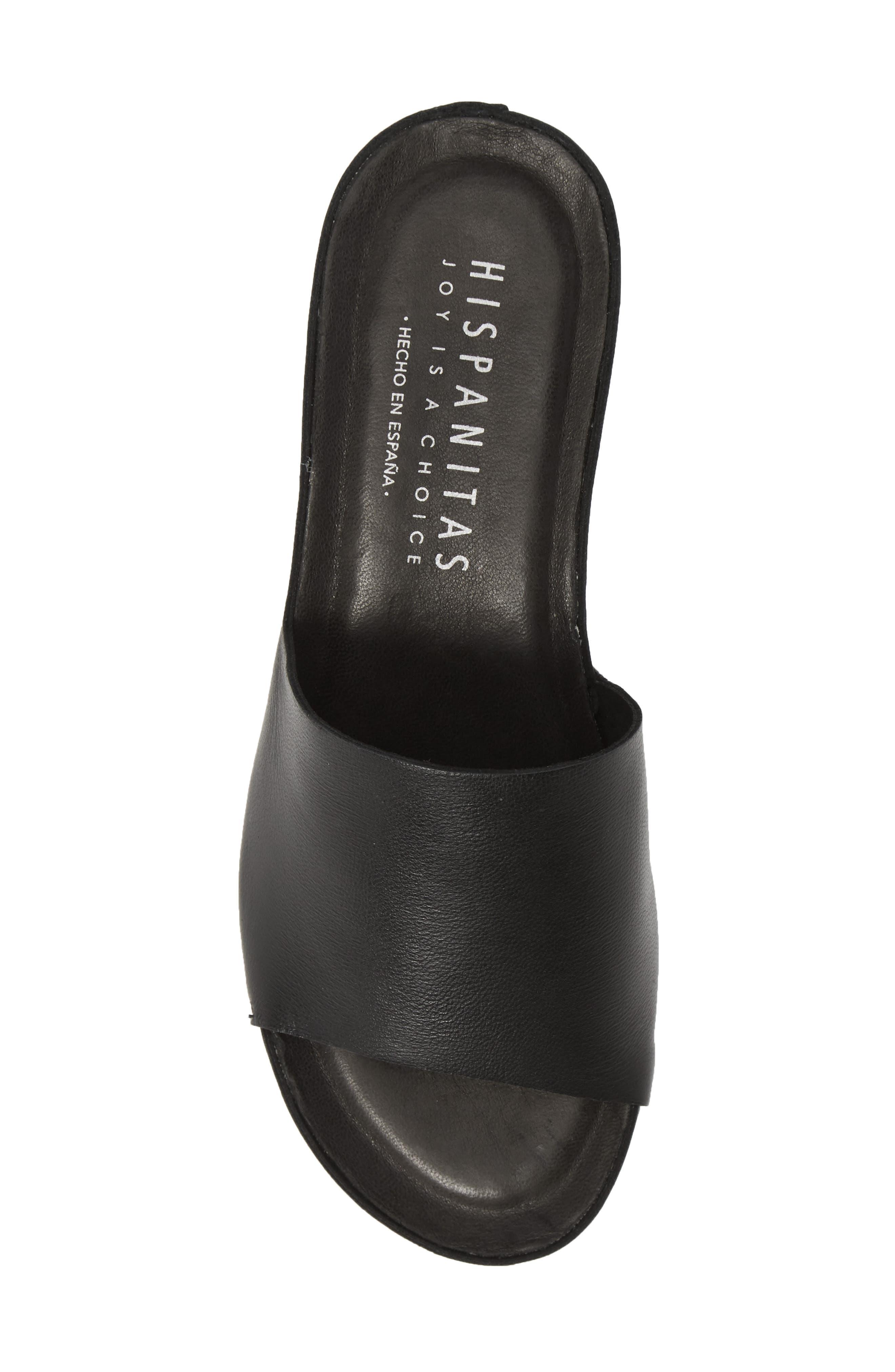 HISPANITAS, Vega Slide Sandal, Alternate thumbnail 5, color, BLACK LEATHER