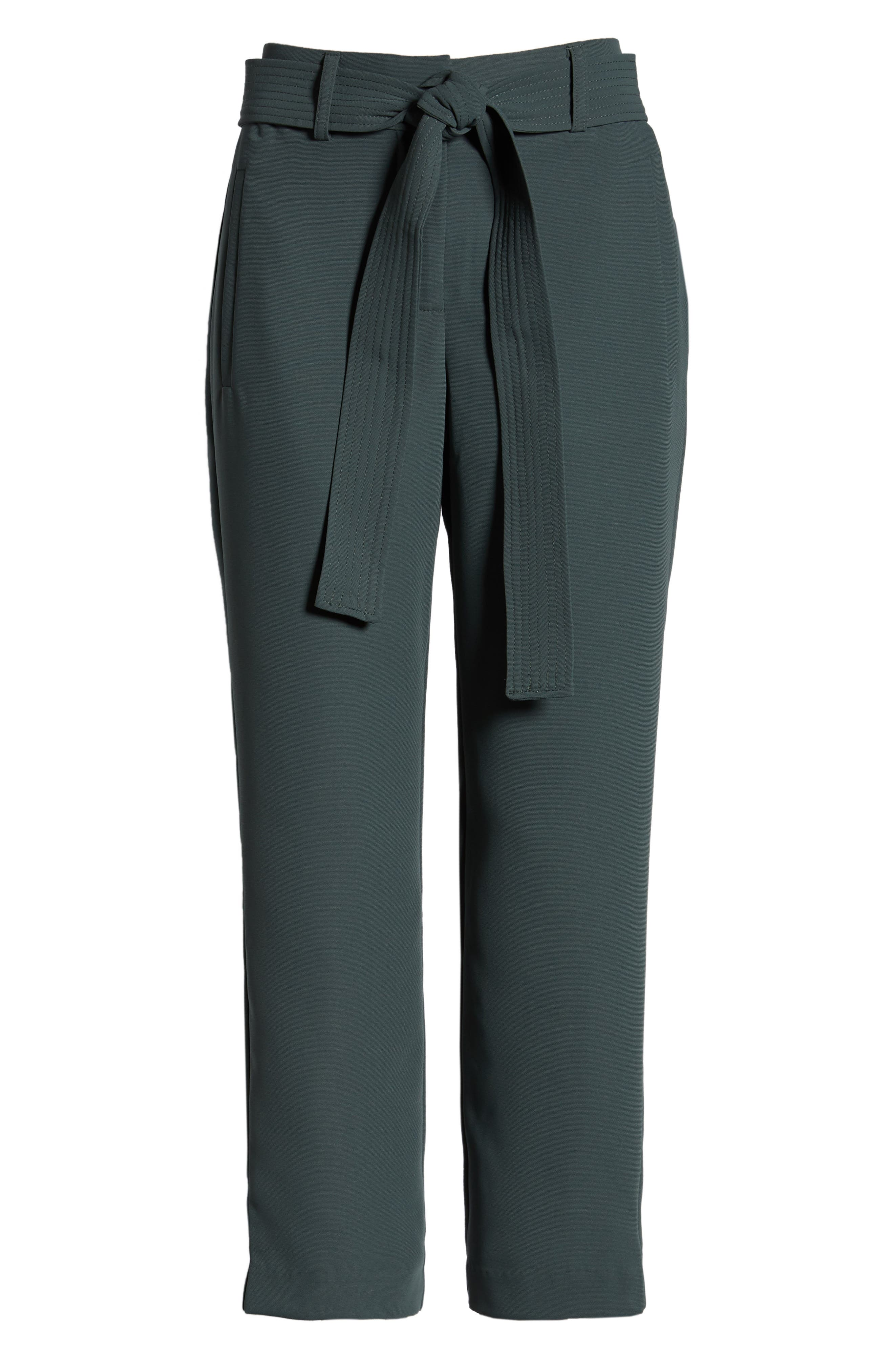 CHELSEA28, Tie Waist Ankle Pants, Alternate thumbnail 7, color, GREY URBAN