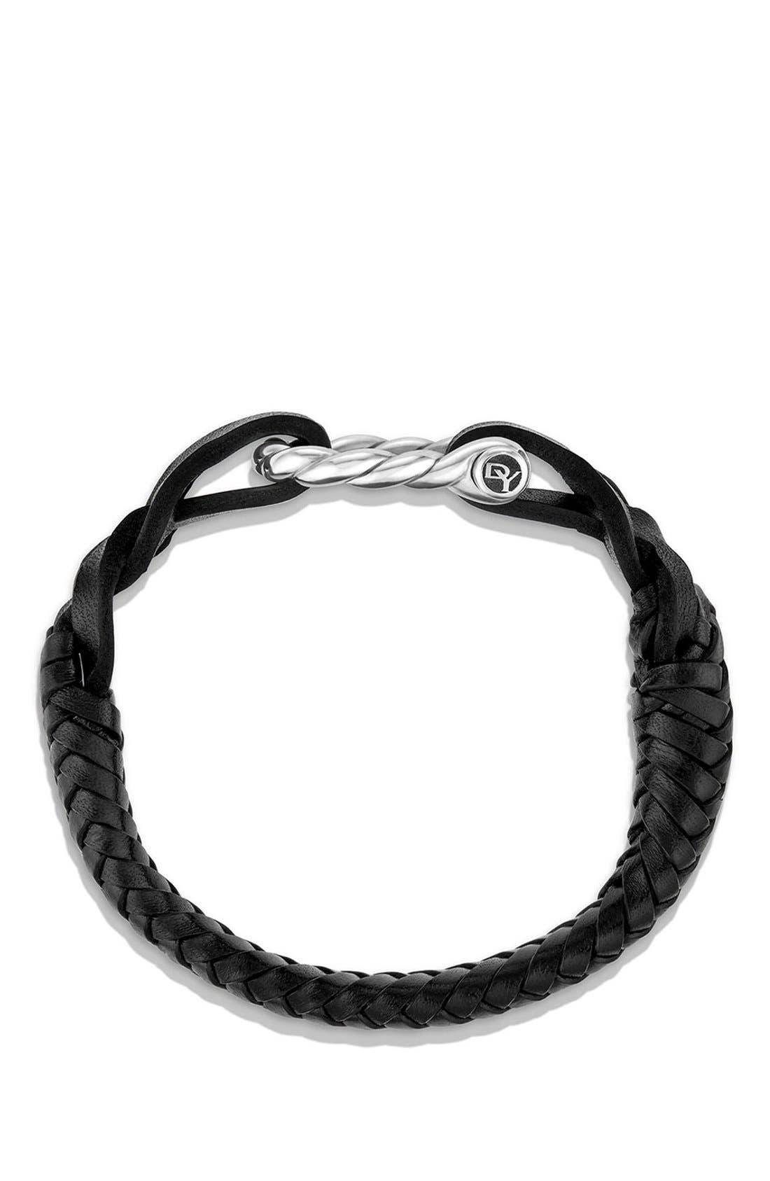 DAVID YURMAN, 'Maritime' Leather Woven Shackle Bracelet, Alternate thumbnail 3, color, SILVER/ BLACK