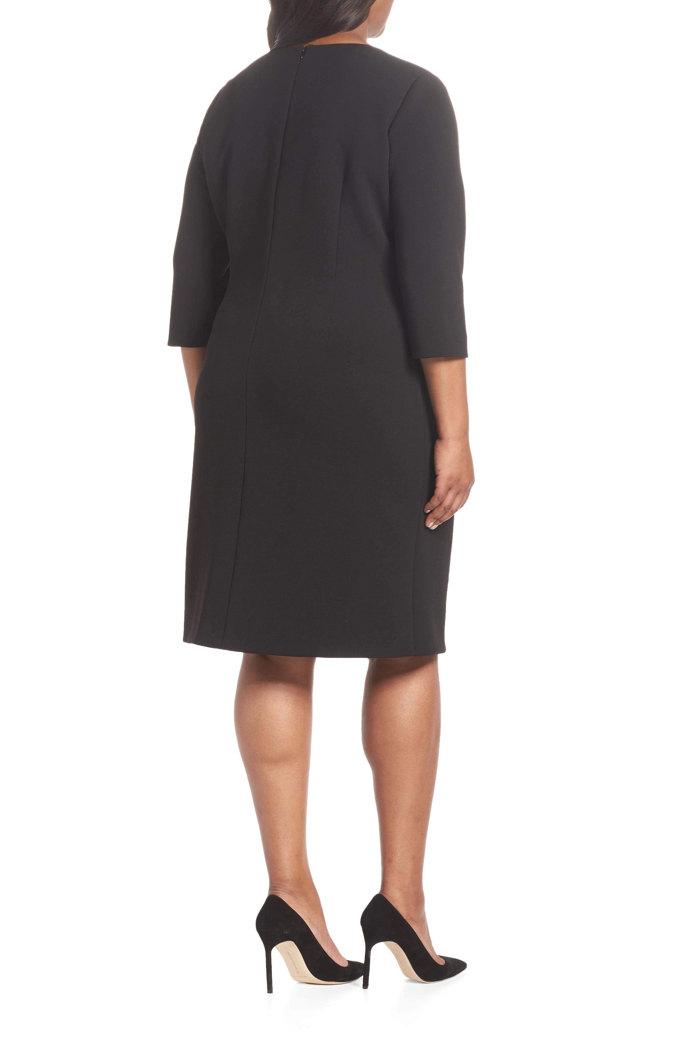 TAHARI, Ruched Surplice Crepe Sheath Dress, Alternate thumbnail 2, color, BLACK