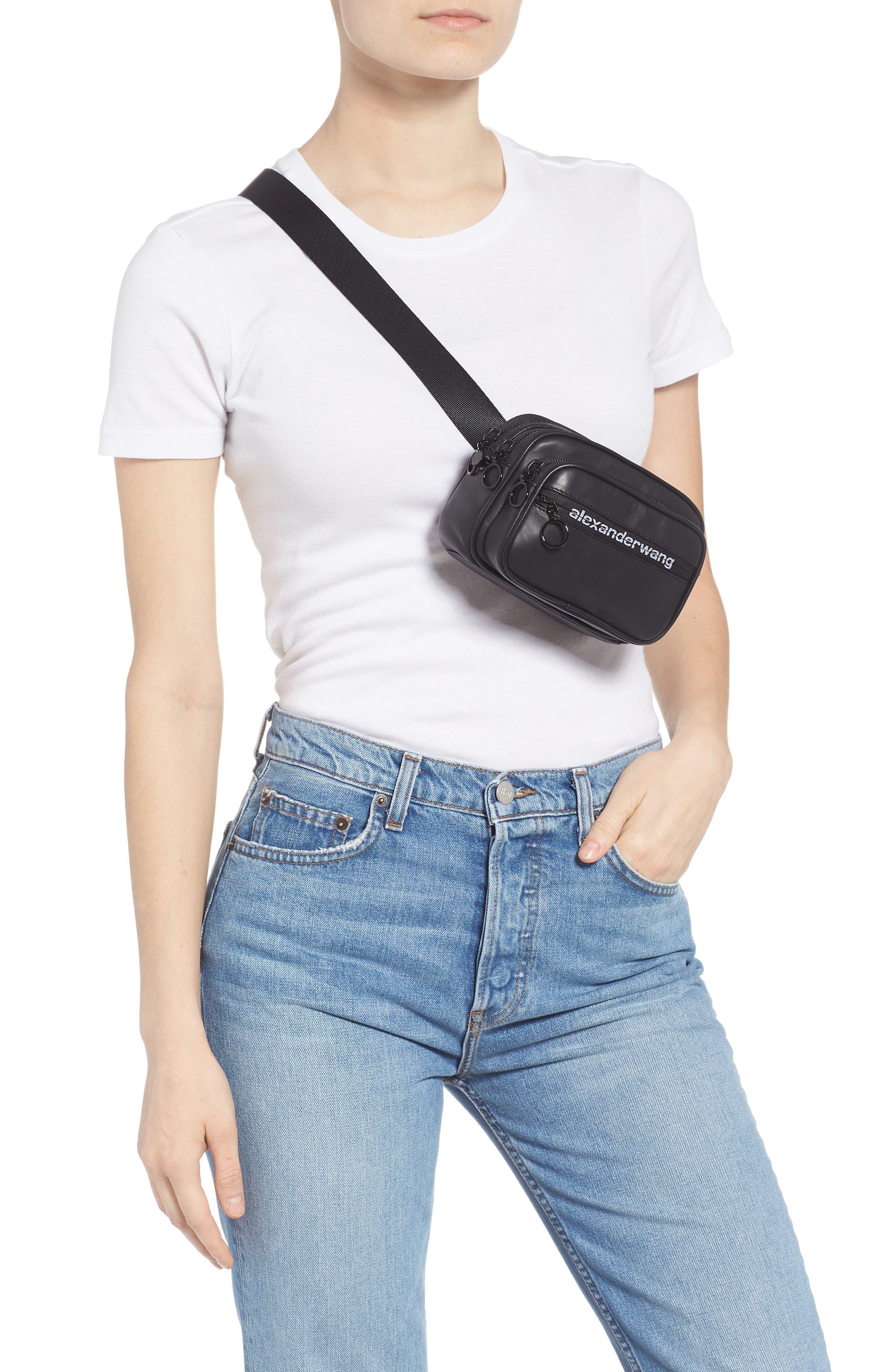ALEXANDER WANG, Attica Logo Leather Belt Bag, Alternate thumbnail 3, color, BLACK