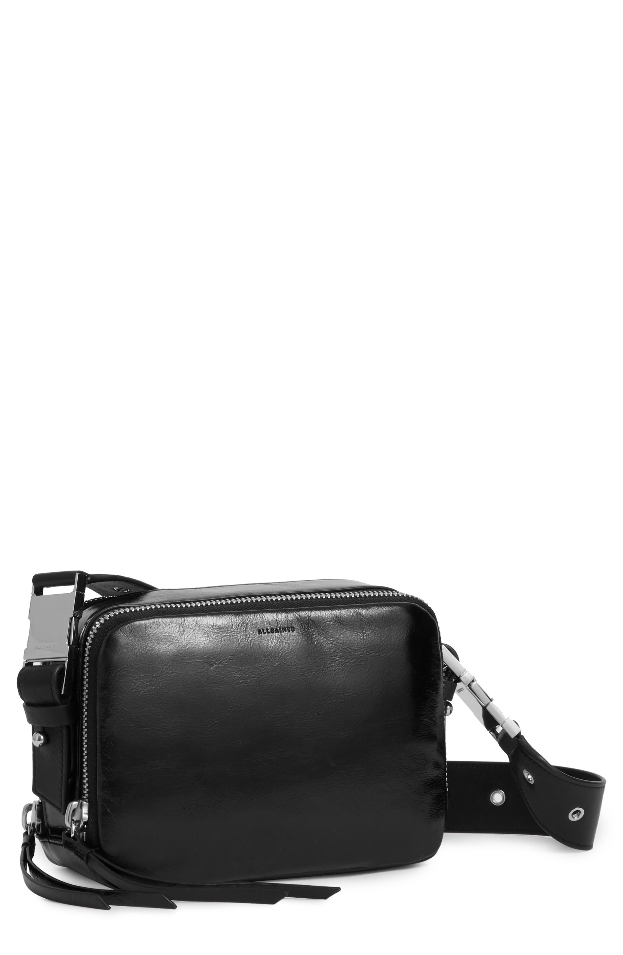 ALLSAINTS, Leather Belt Bag, Main thumbnail 1, color, 001